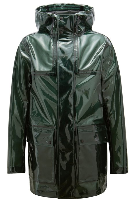 9a27e3bb104 BOSS - Relaxed-fit parka in glossy coated fabric