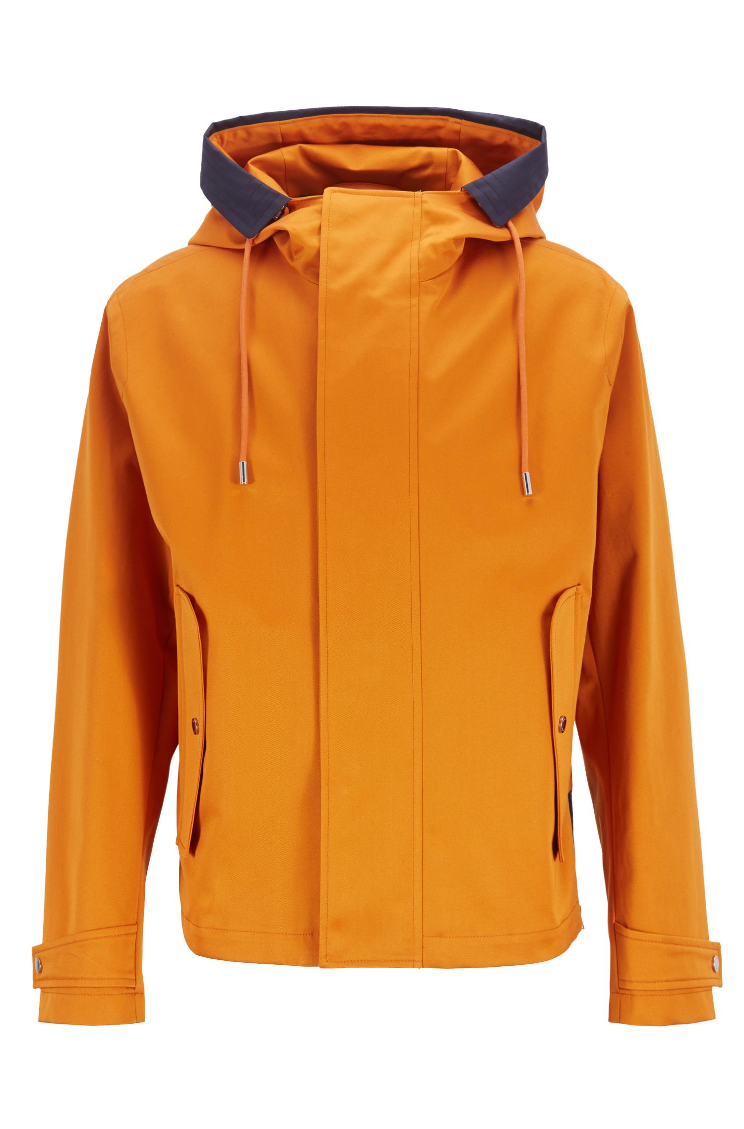 Hooded jacket in water-repellent gabardine with contrast inserts, Orange