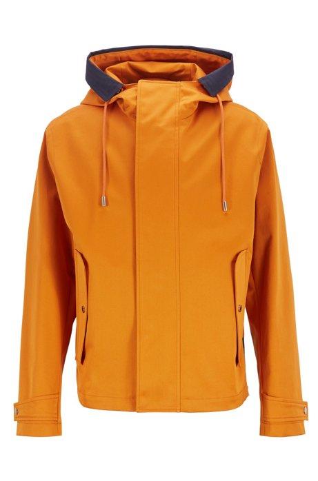 Veste à capuche en gabardine déperlante à empiècements contrastants, Orange