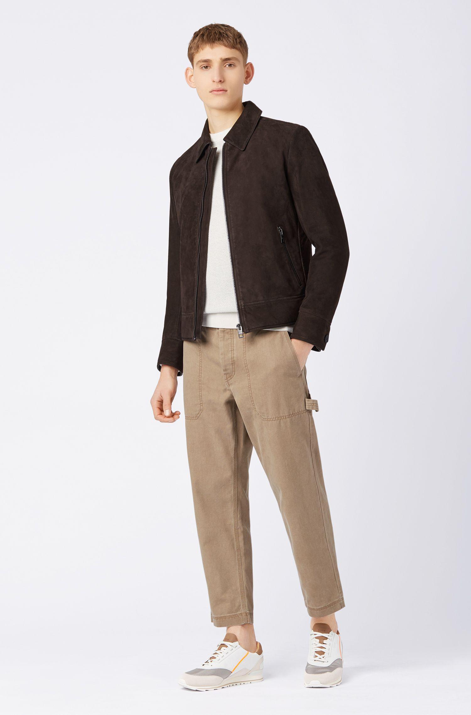 Slim-fit jas van gewaxt leer met omgeslagen kraag, Donkerbruin