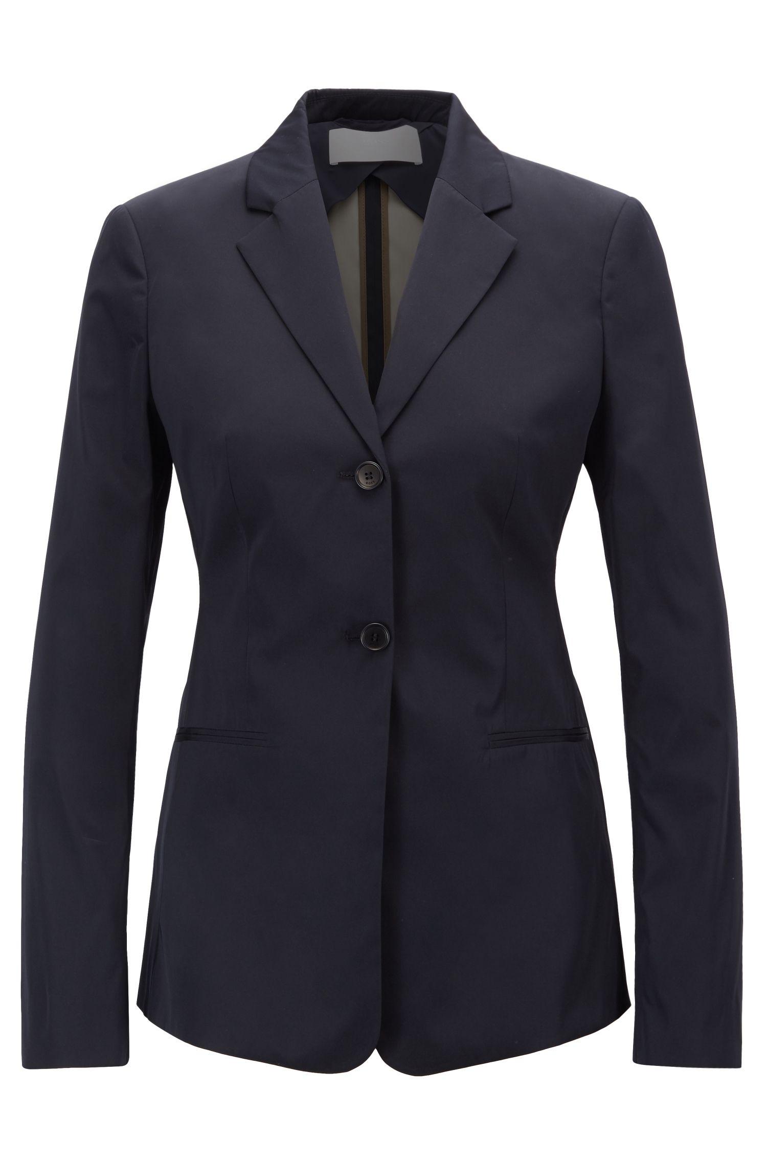 Slim-fit jacket in Italian double-woven taffeta, Dark Blue