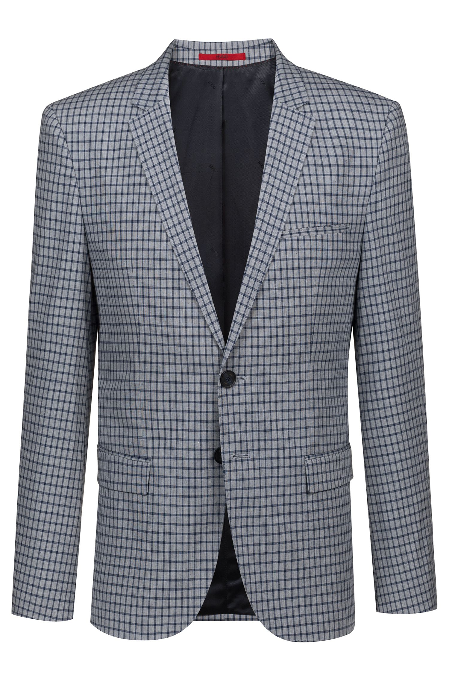 Extra-slim-fit stretch-cotton jacket with micro check, Patterned