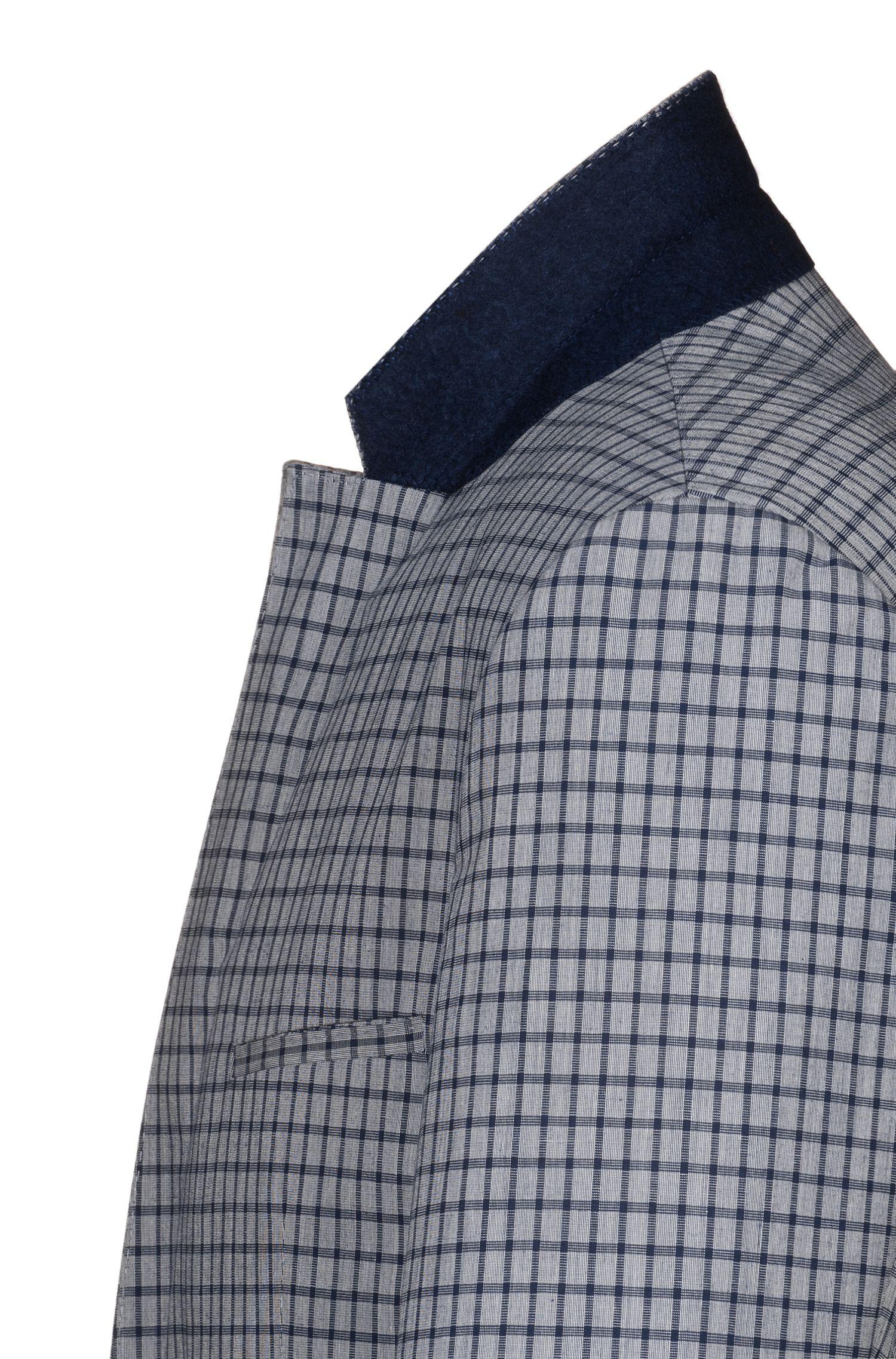 Extra Slim-Fit Sakko aus Stretch-Baumwolle mit filigranem Karo, Gemustert
