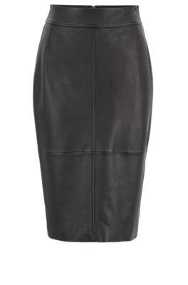 Regular-fit pencil skirt in lambskin, Black