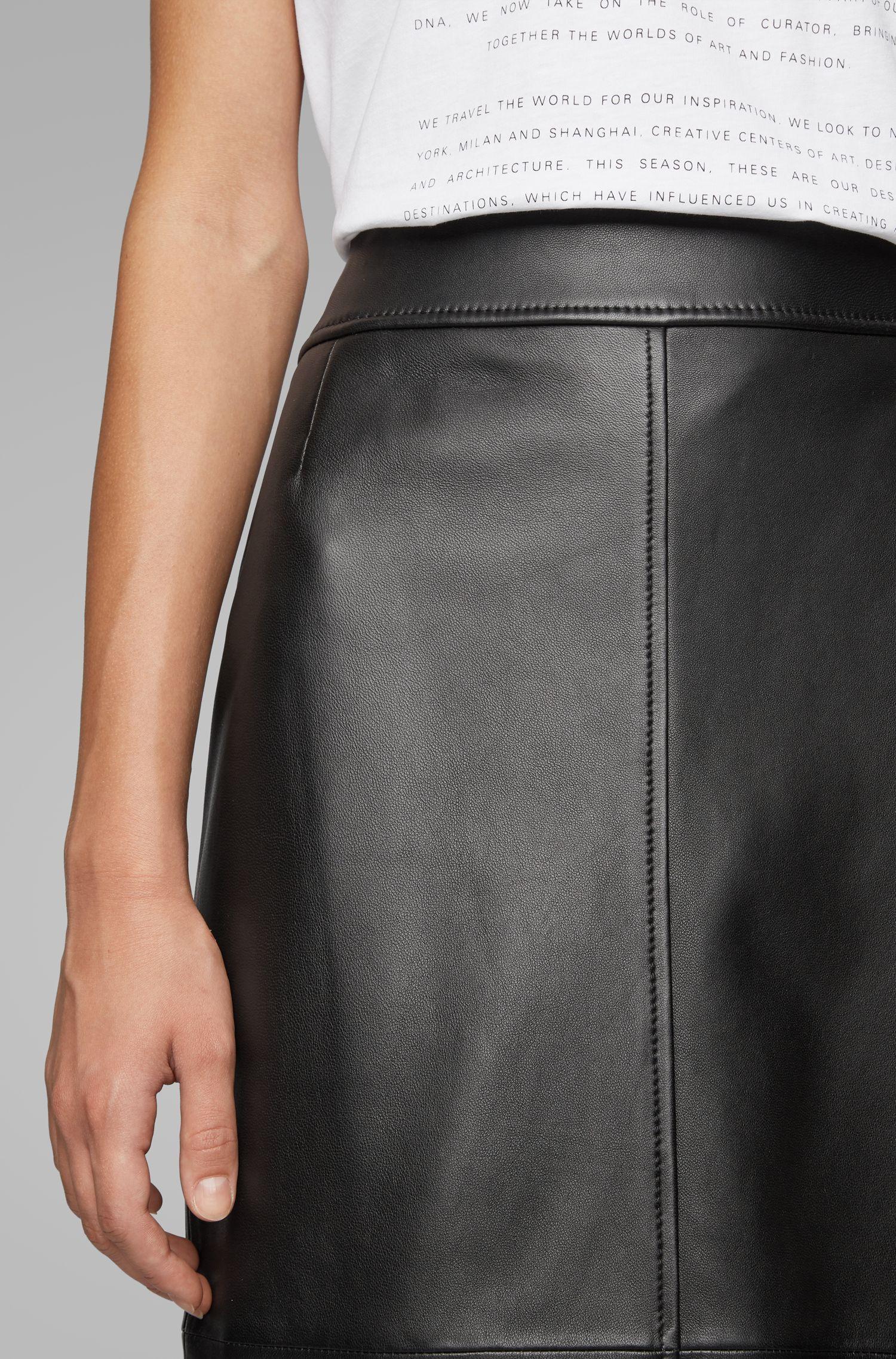 Hugo Boss - Regular-fit pencil skirt in lambskin - 3