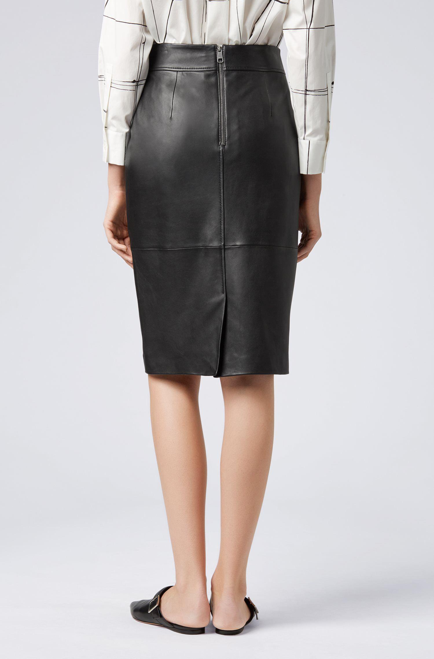 Hugo Boss - Regular-fit pencil skirt in lambskin - 4