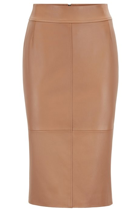 Regular-fit pencil skirt in lambskin, Light Brown