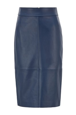 Regular-fit pencil skirt in lambskin, ダークブルー