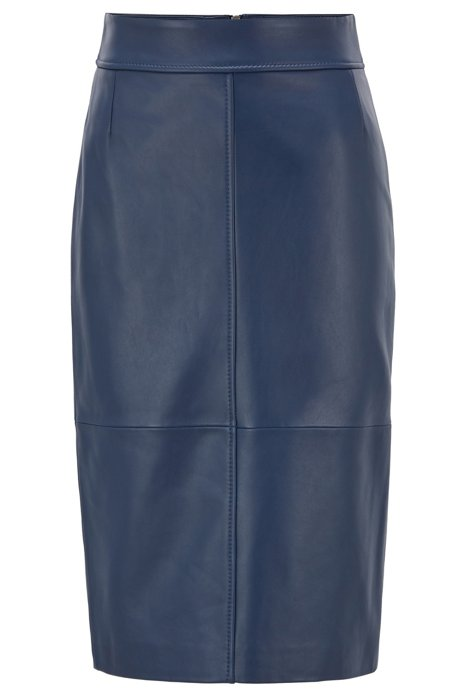 Regular-fit pencil skirt in lambskin, Dark Blue