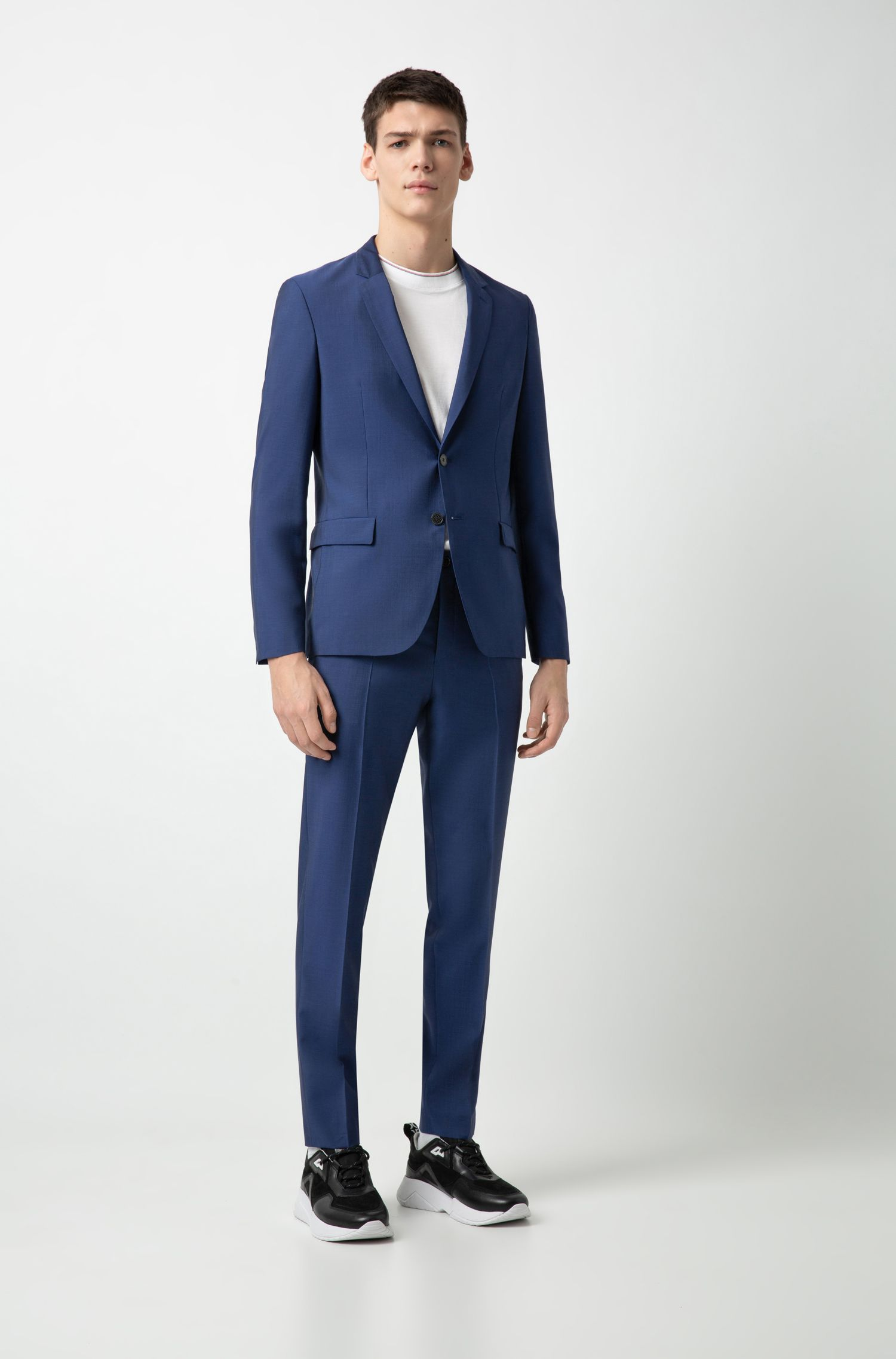 Extra-slim-fit trousers in an Italian wool blend, Blue