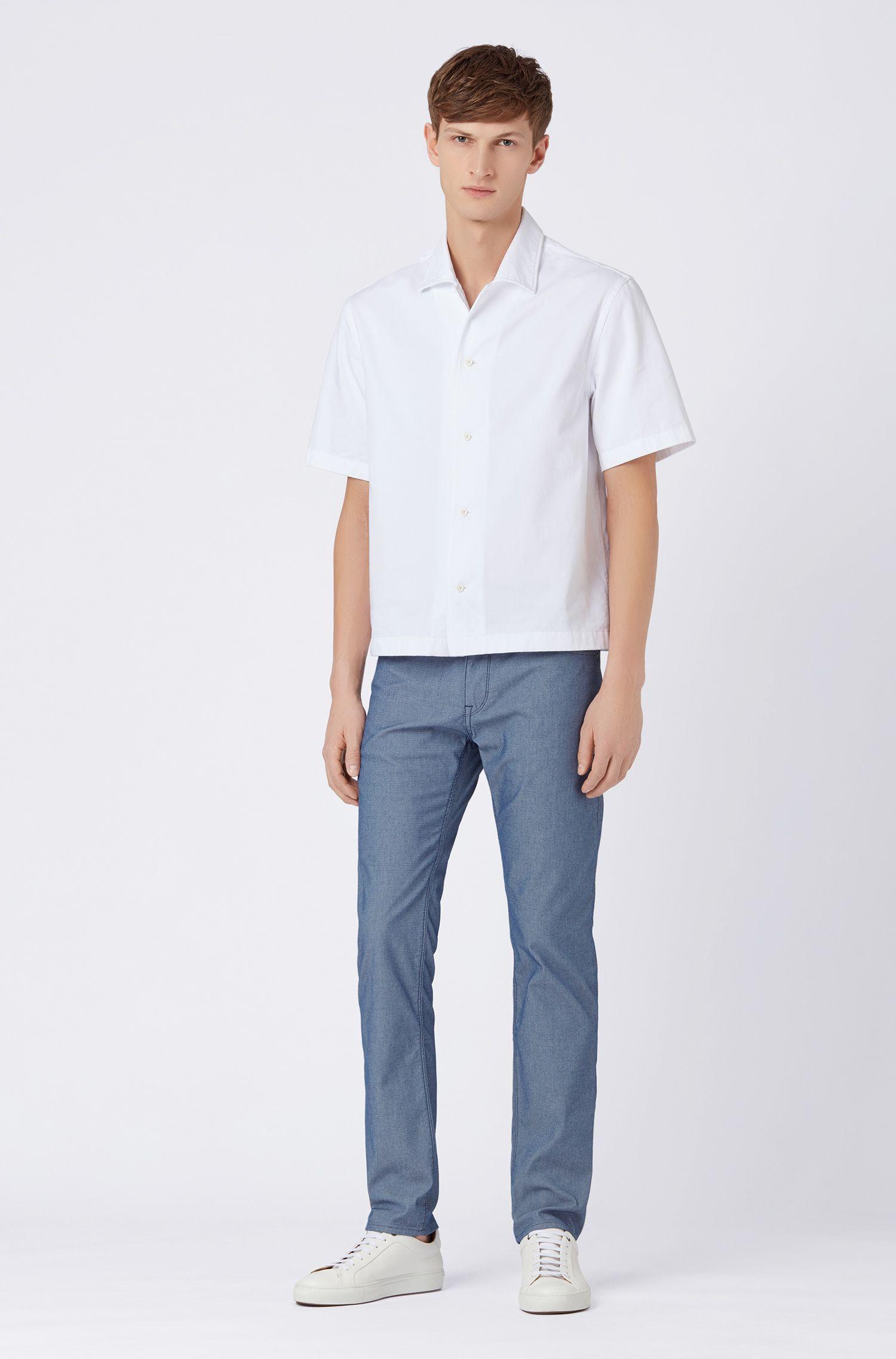 Regular-Fit Jeans aus zweifarbigem, strukturiertem Denim, Dunkelblau