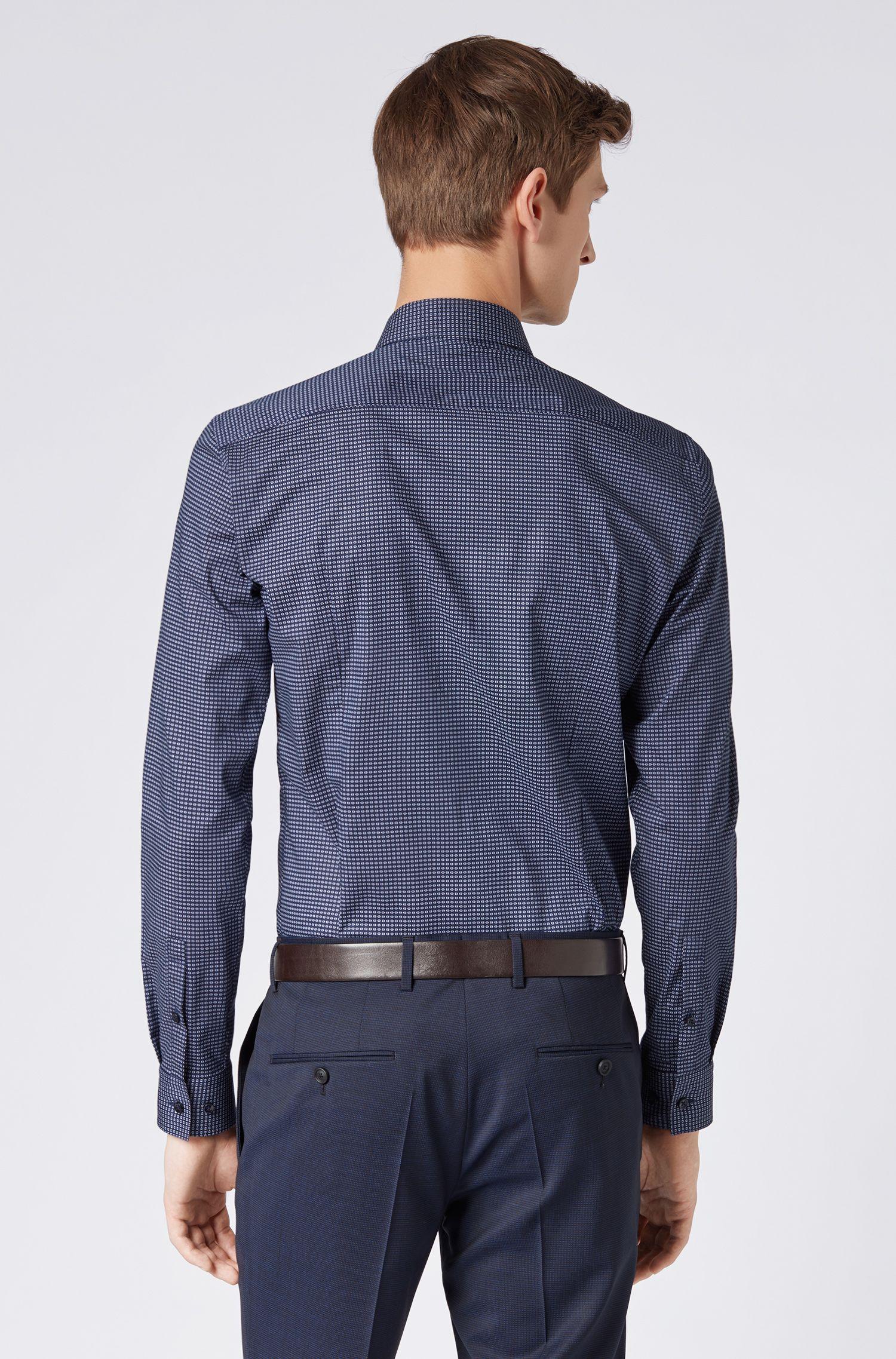 Chemise Slim Fit en coton stretch italien à imprimé géométrique, Bleu foncé