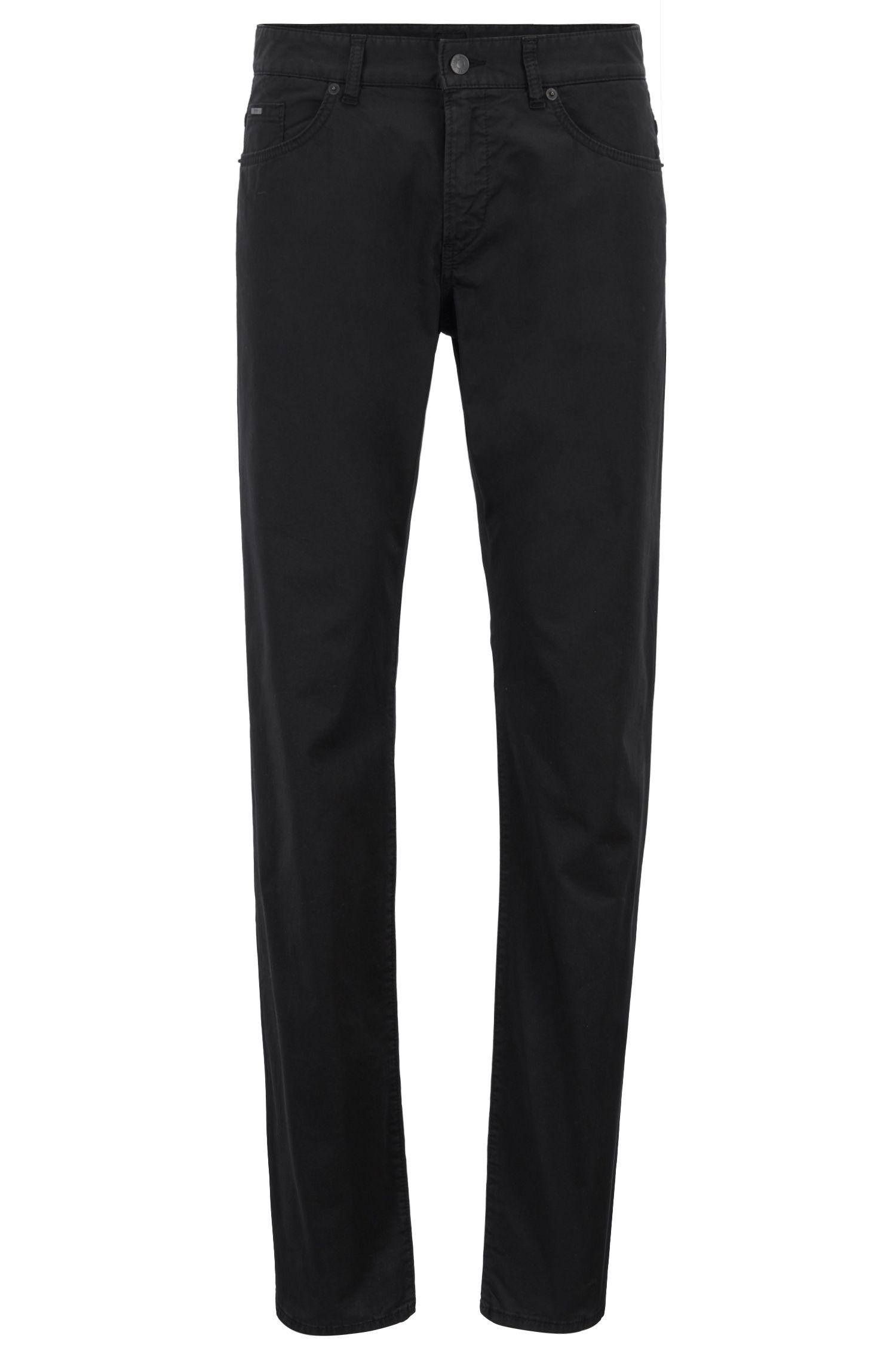 Slim-fit jeans van satijndenim met BCI-katoen, Zwart