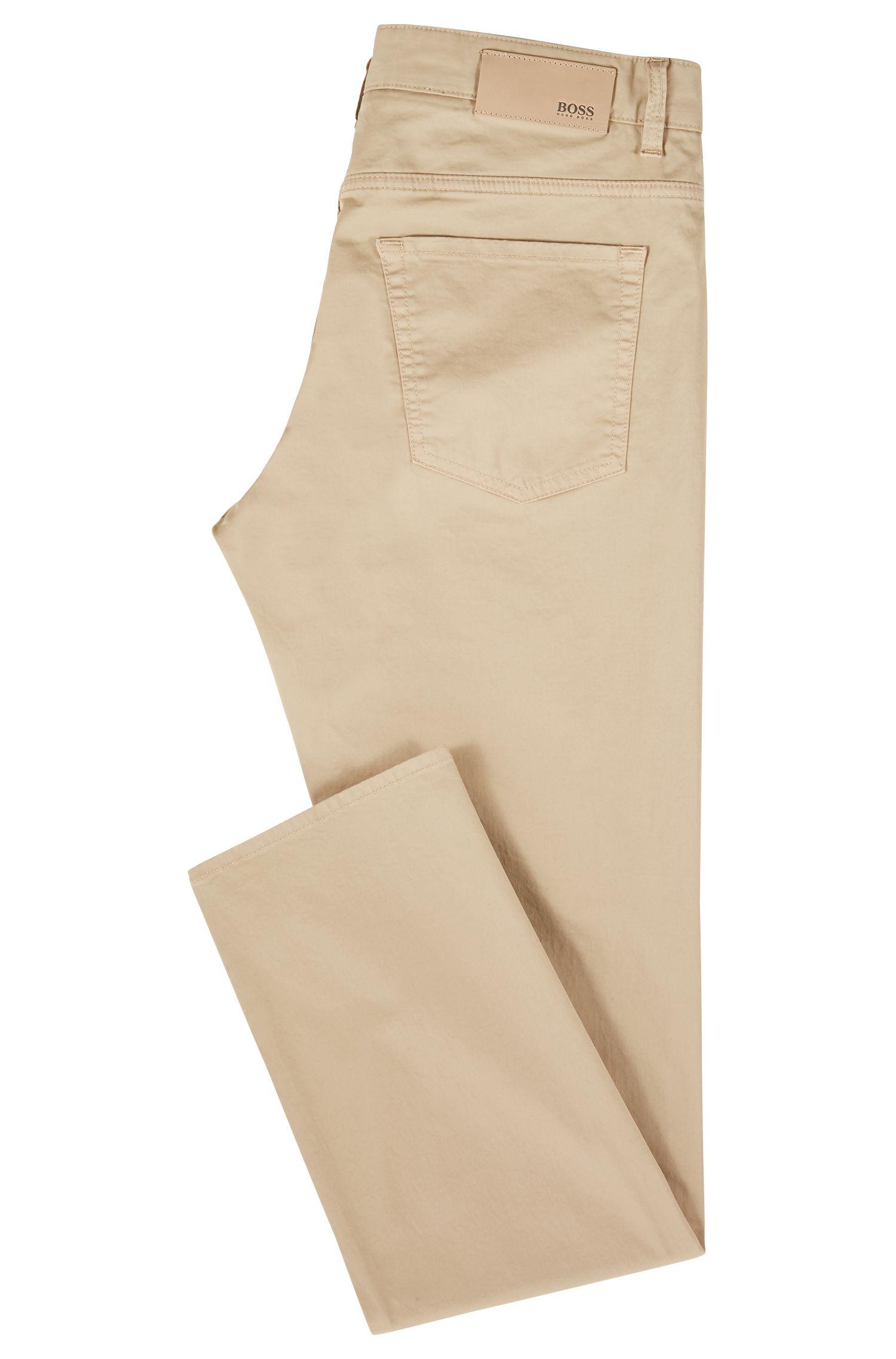 Vaqueros slim fit en tejido vaquero satinado con algodón BCI, Beige claro