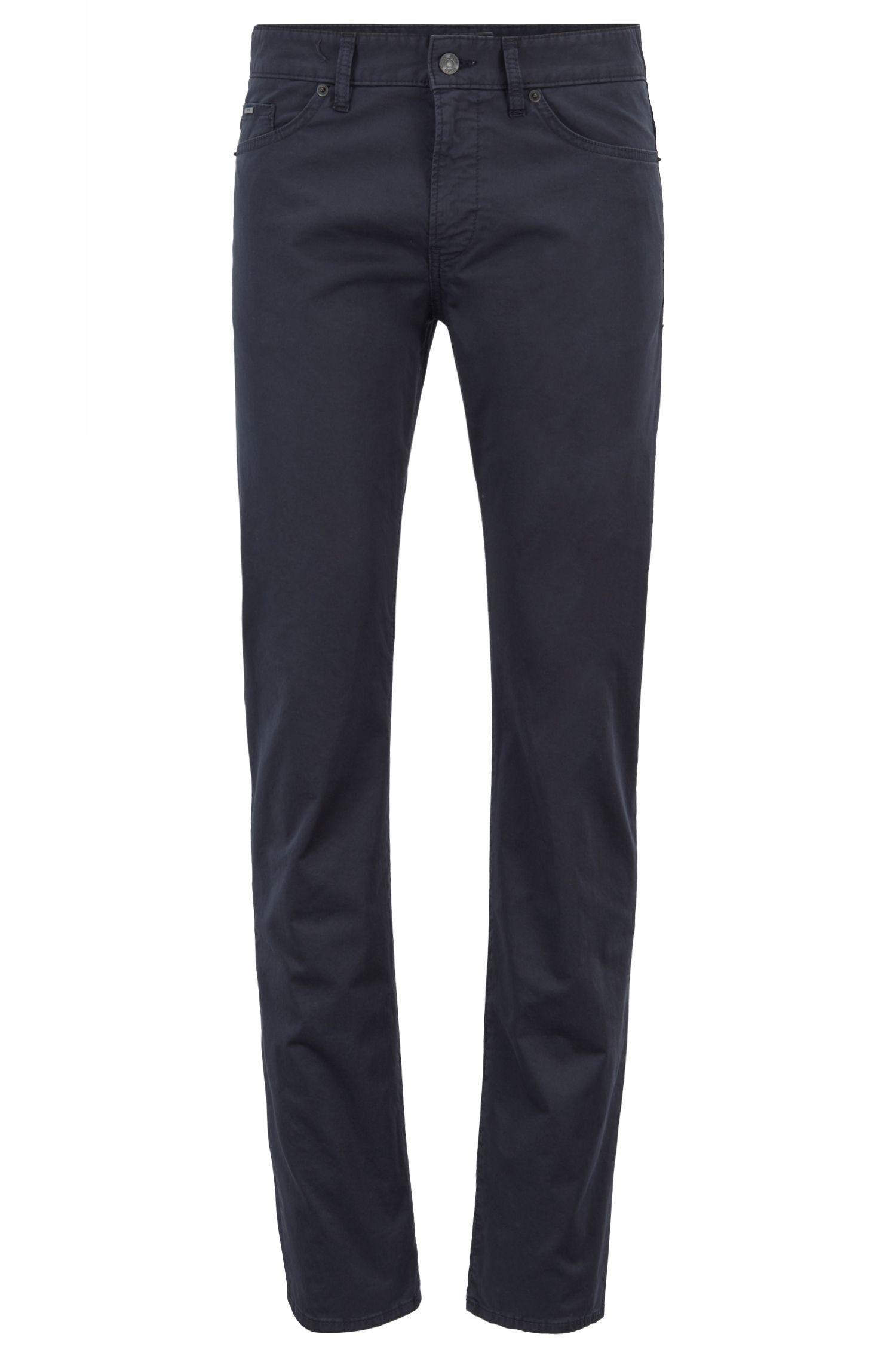 Slim-Fit Jeans aus Denim in Satin-Optik mit BCI-Baumwolle, Dunkelblau