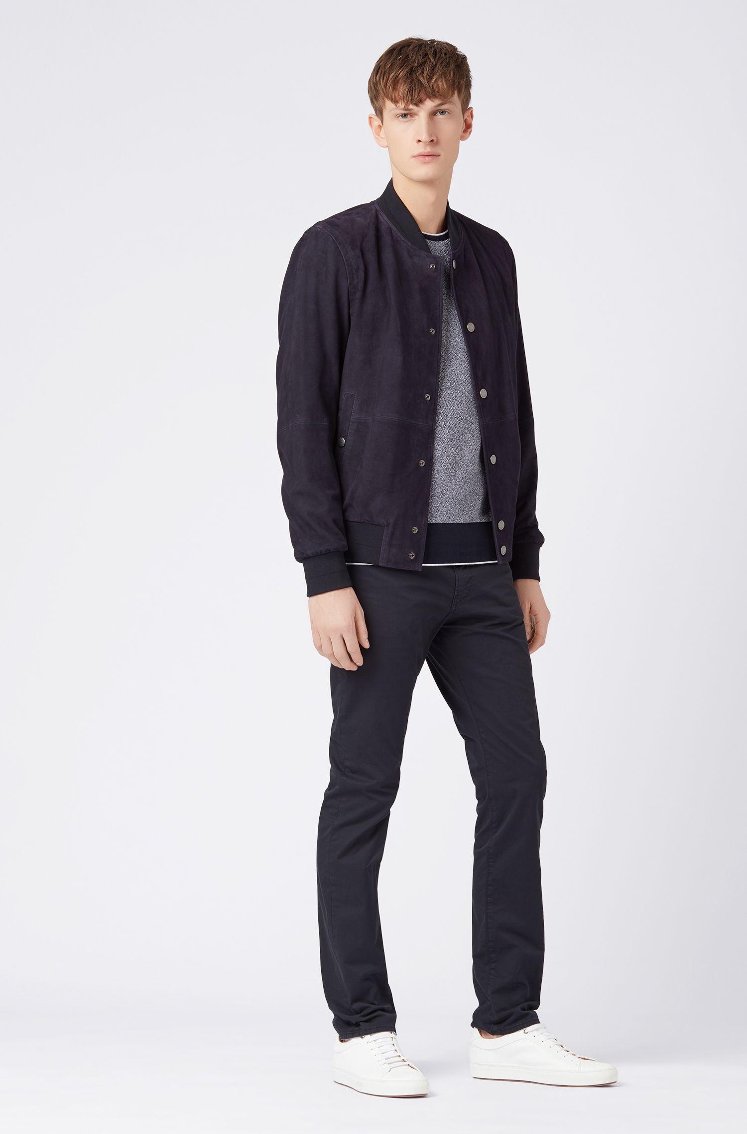 Slim-fit jeans in satin denim with BCI cotton, Dark Blue
