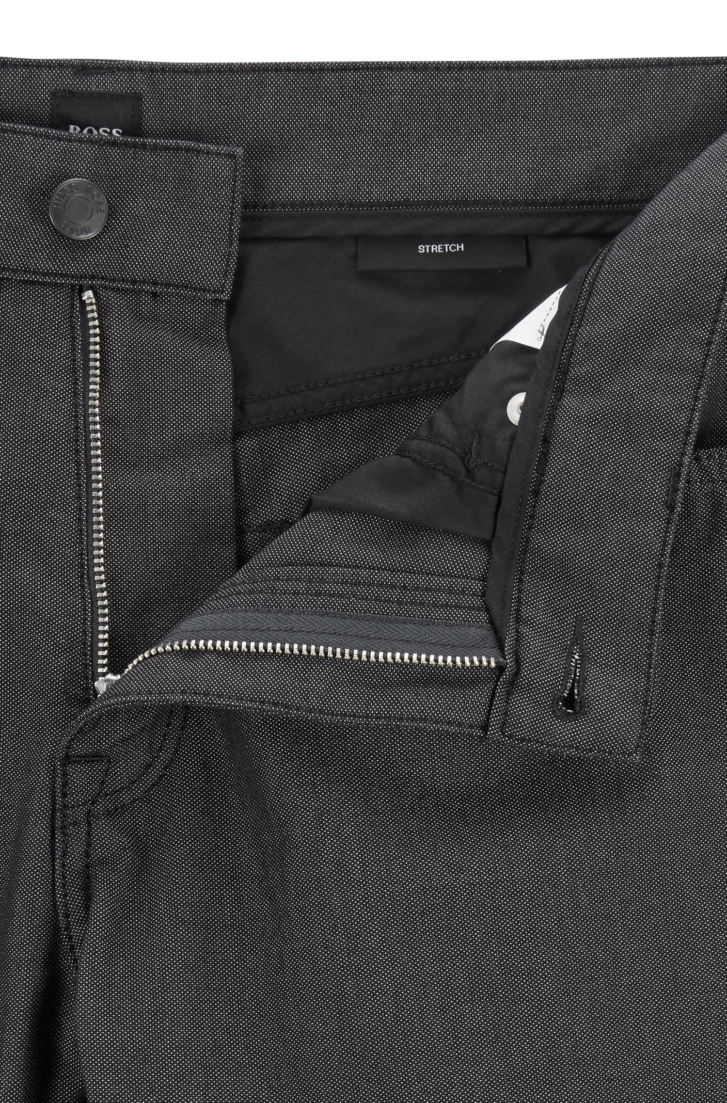 Regular-Fit Jeans aus strukturiertem Pinpoint-Denim, Schwarz