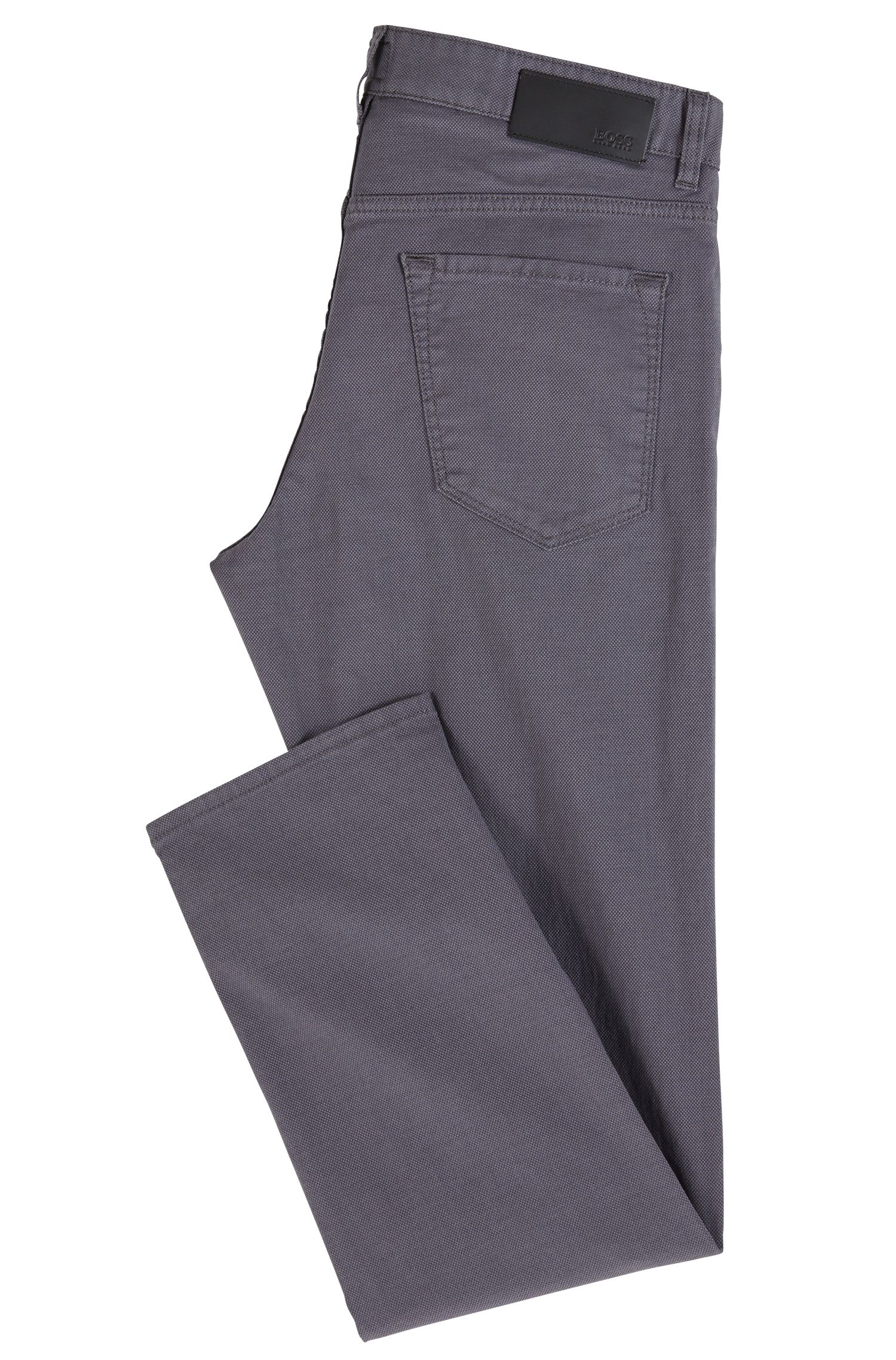 Jeans regular fit in denim elasticizzato con impunture, Grigio