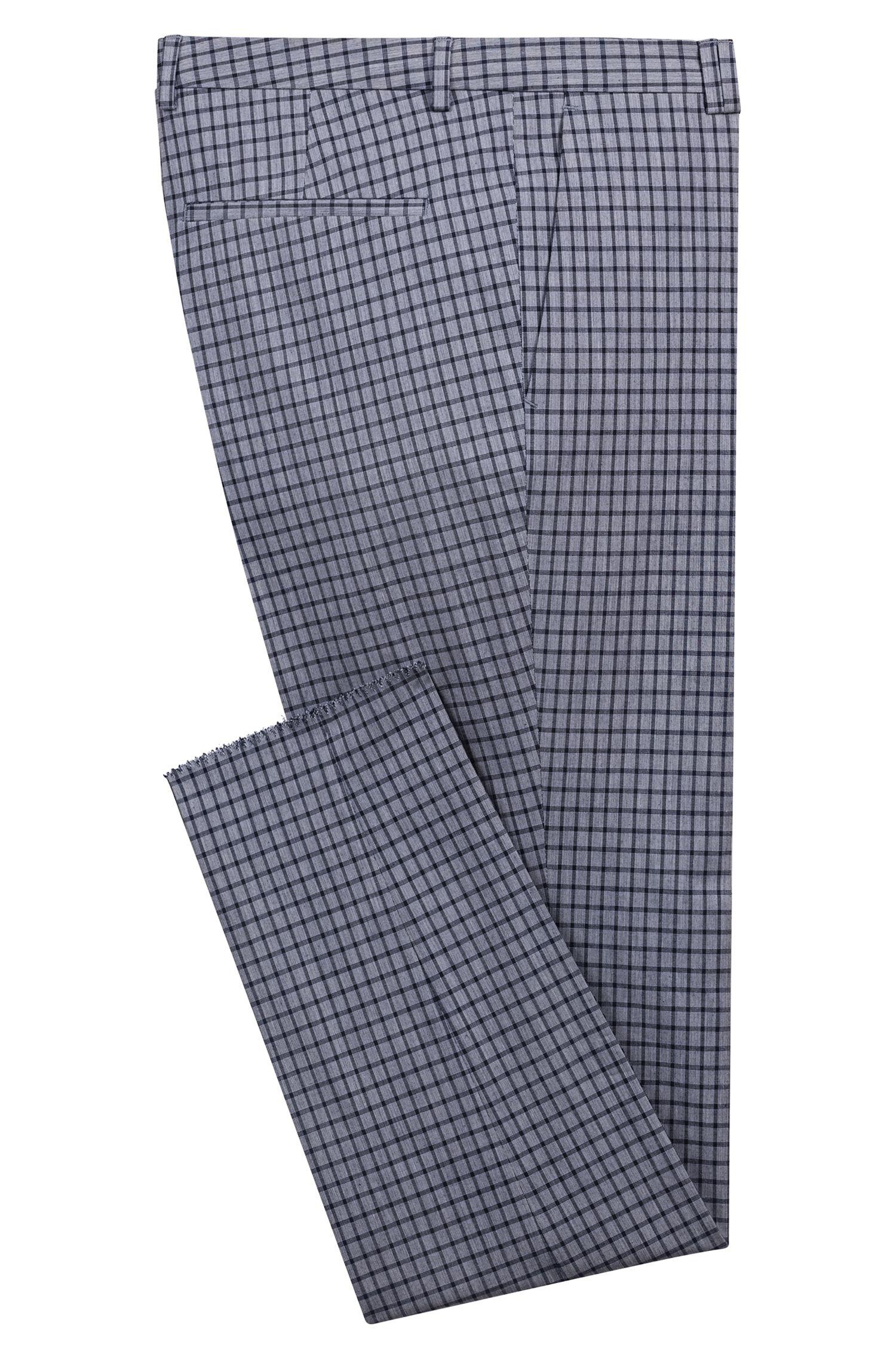 Pantalones extra slim fit en algodón elástico con microestampado de cuadros, Fantasía