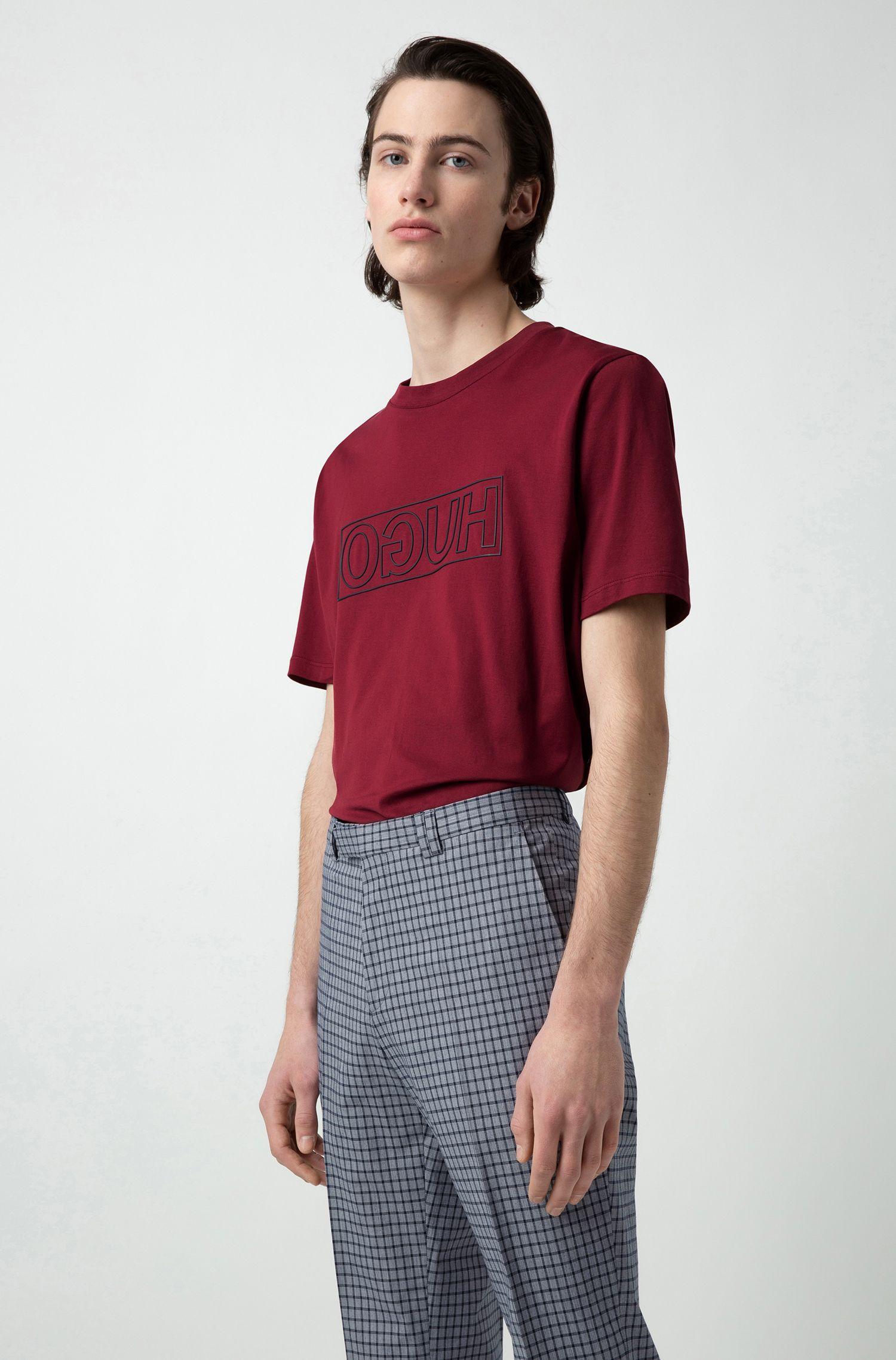 Pantaloni extra slim fit in cotone elasticizzato a quadretti, A disegni