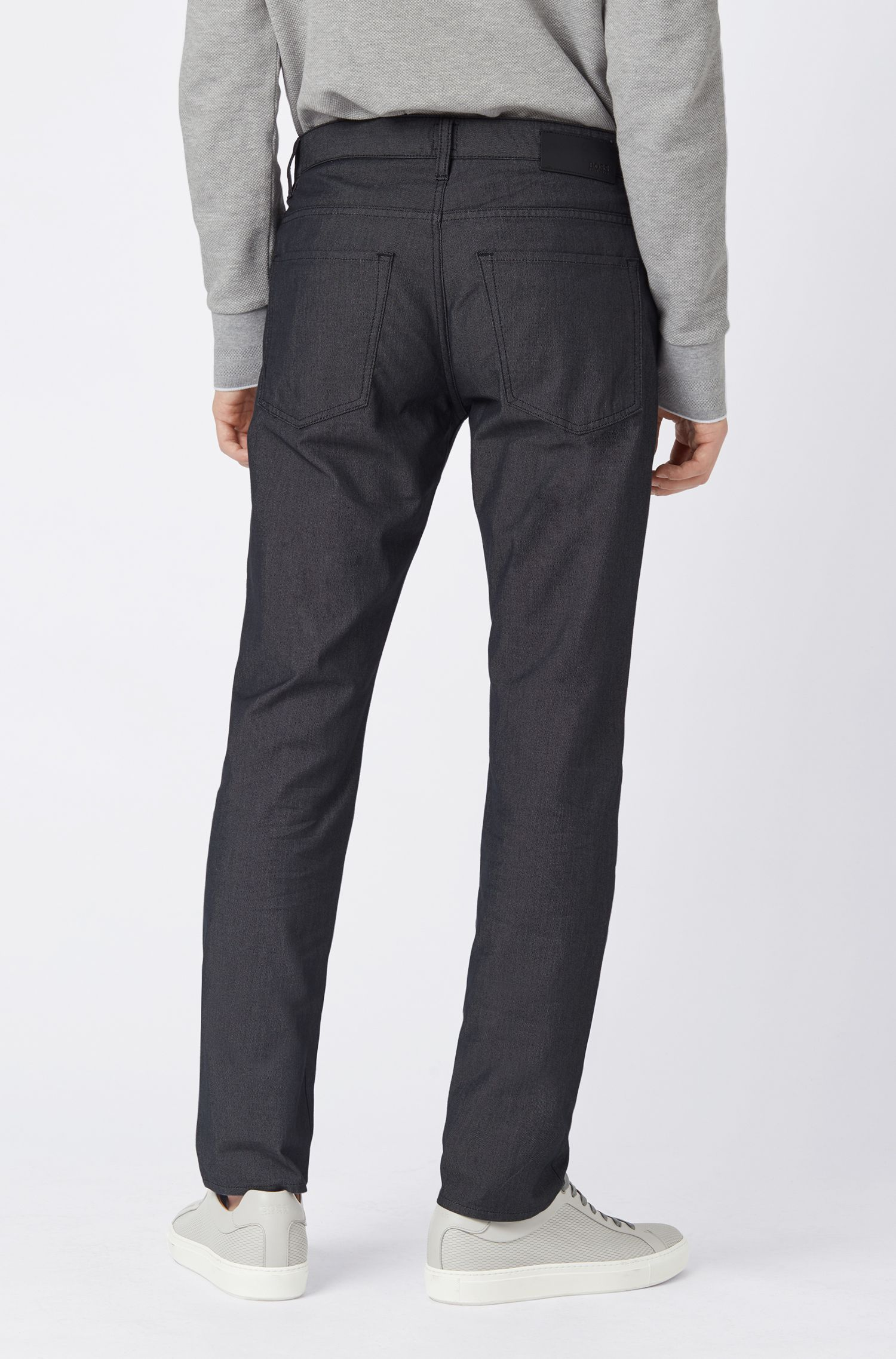 Vaqueros slim fit con microestructura pin-point, Negro
