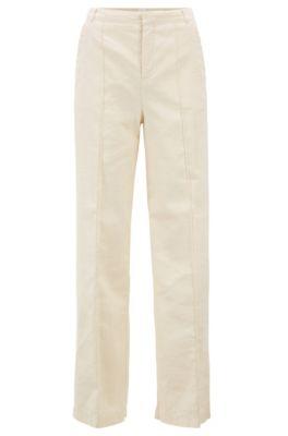 Regular-Fit Hose aus elastischem Baumwoll-Leinen-Mix im Denim-Look, Natur
