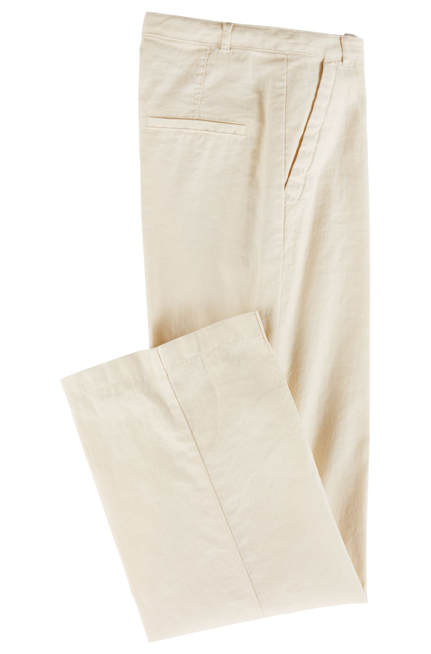 Regular-fit trousers in denim-style fabric, Natural