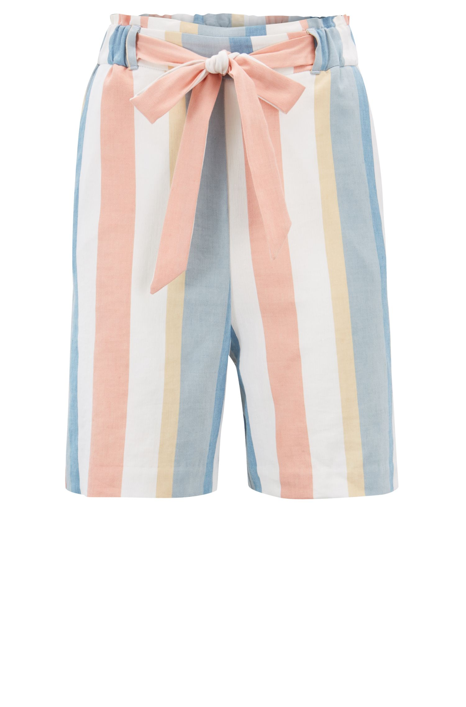Gestreifte Relaxed-Fit Shorts aus elastischem Leinen-Mix mit Gürtel, Gemustert