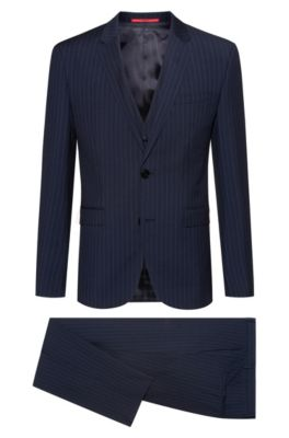 Extra-slim-fit three-piece suit in pinstripe virgin wool, Patterned