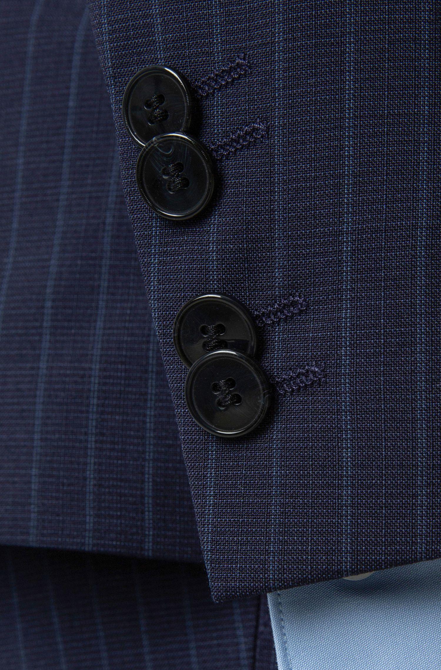 Extra-slim-fit three-piece suit in pinstripe virgin wool, Patterned