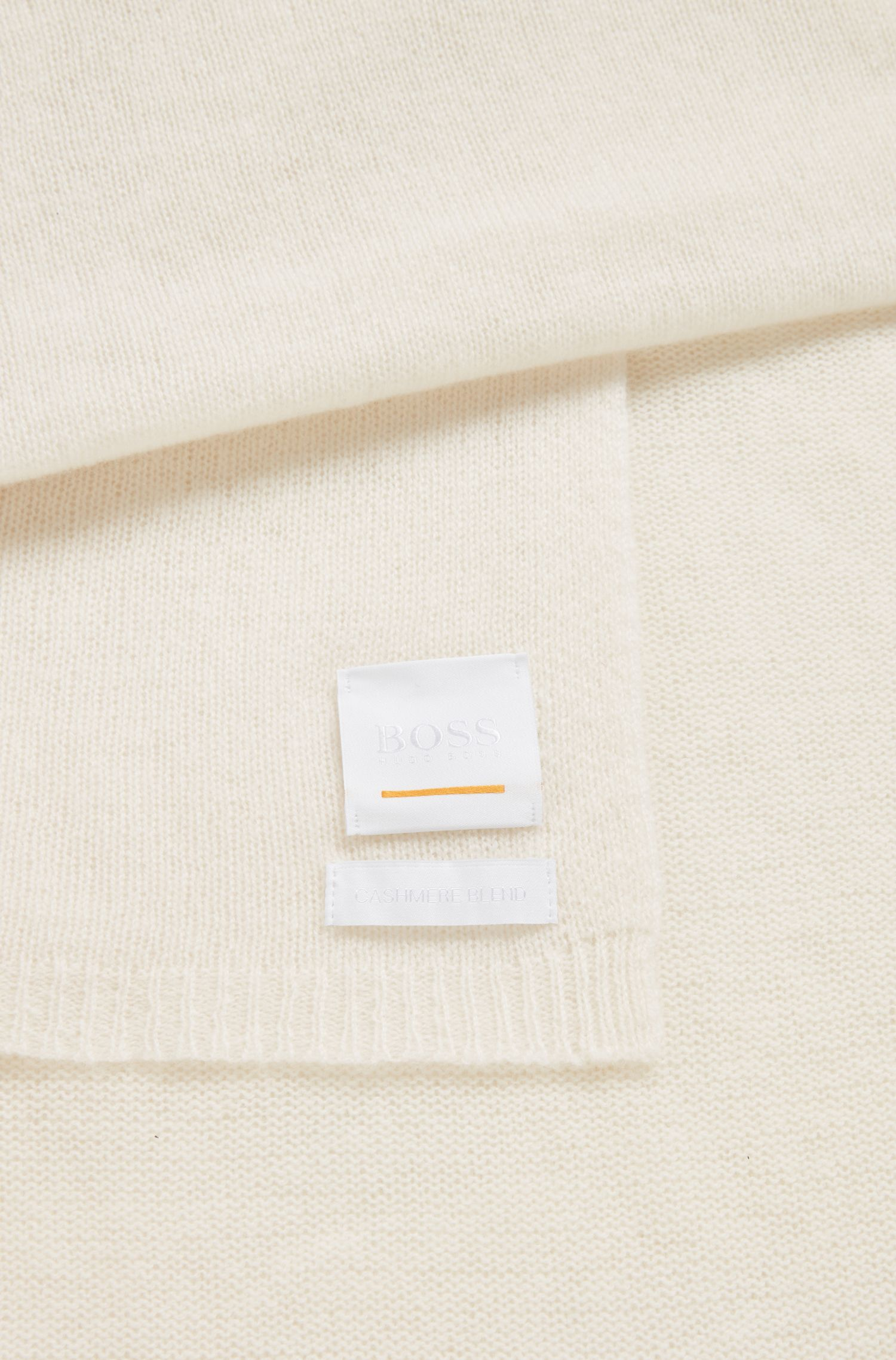 Lightweight knitted scarf in wool and cashmere, Open White