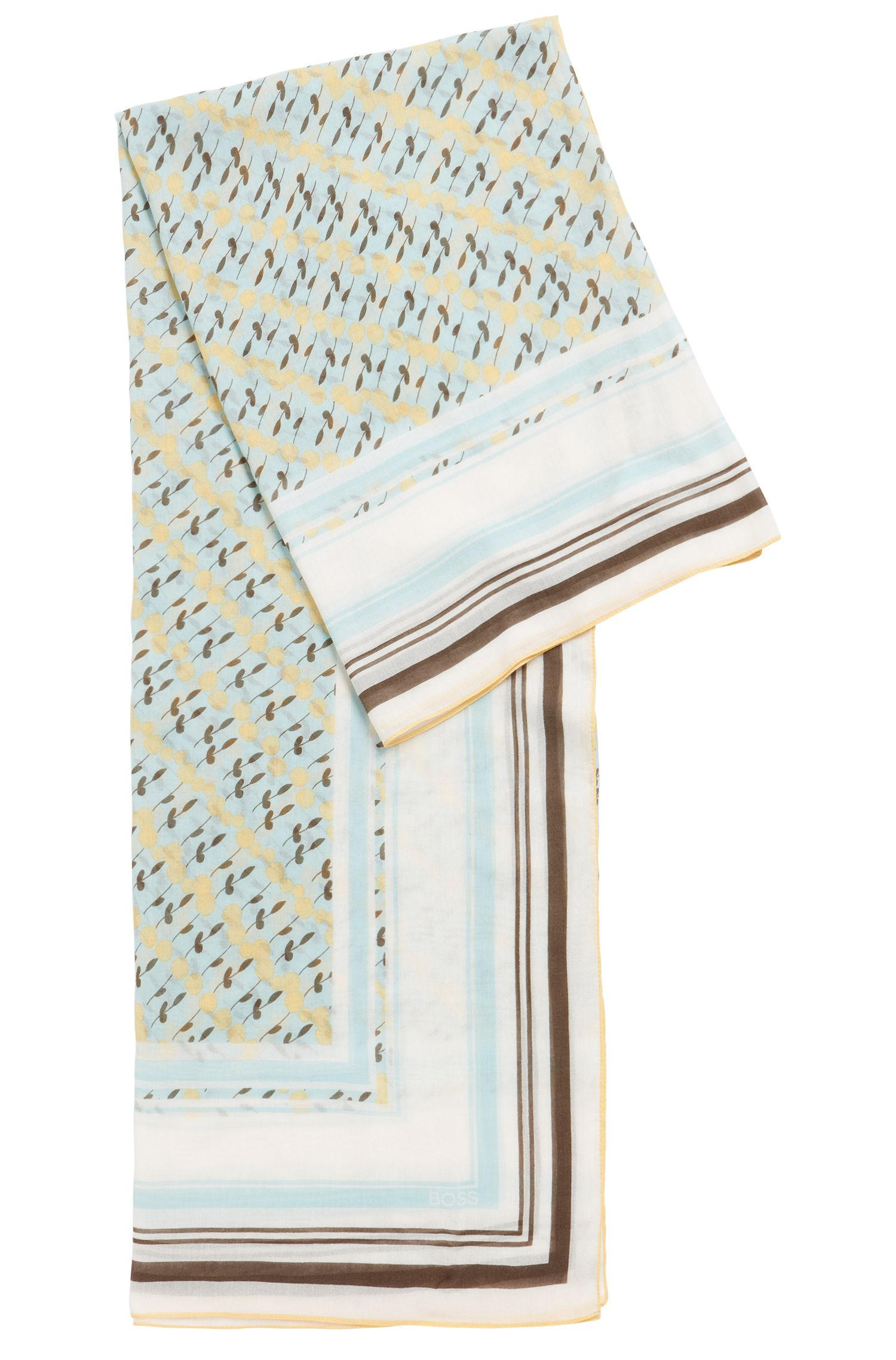 Floral-print square scarf in lightweight cotton with modal, Patterned