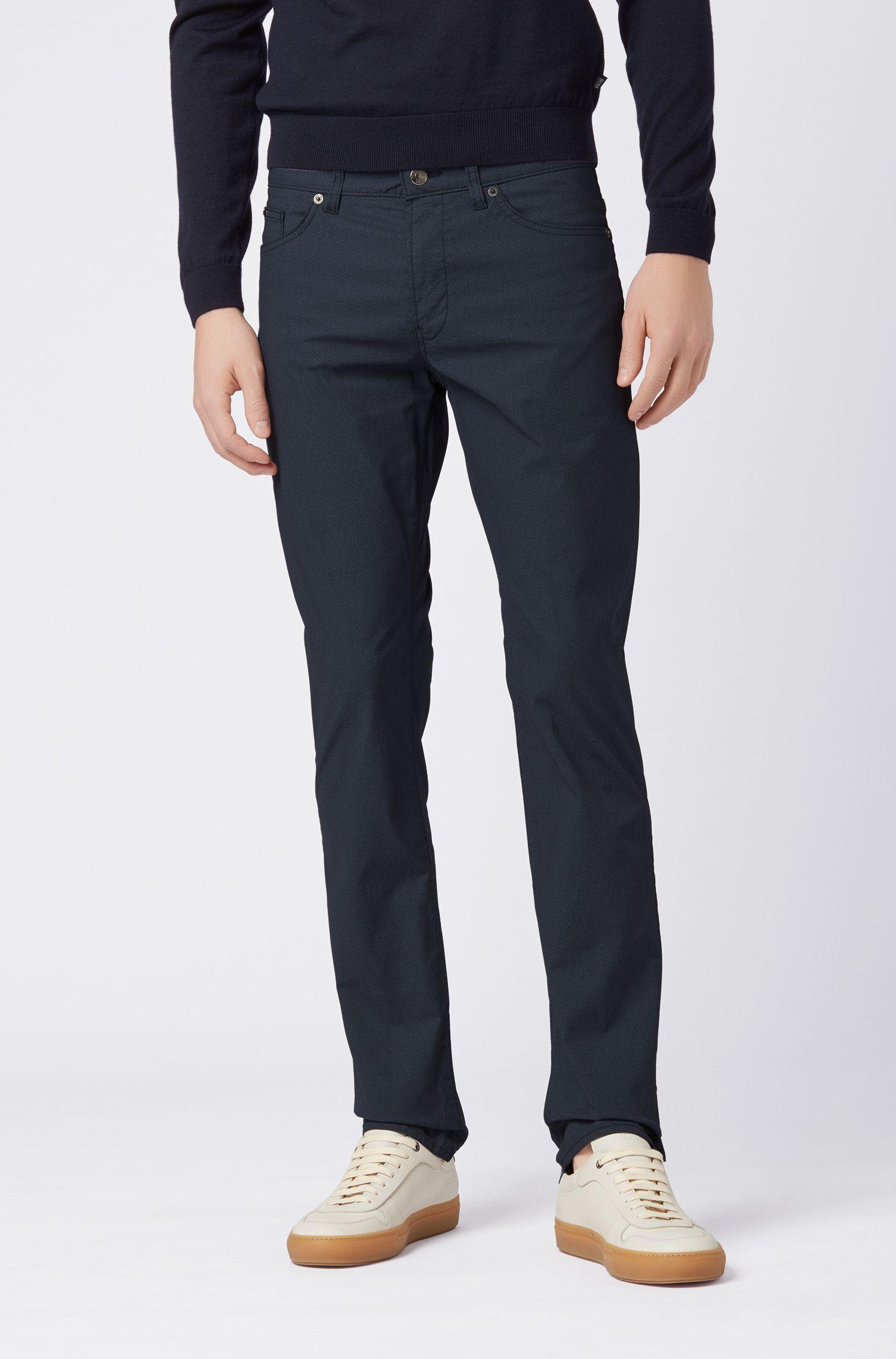 Slim-fit jeans van Italiaanse stretchkatoen met print, Donkerblauw