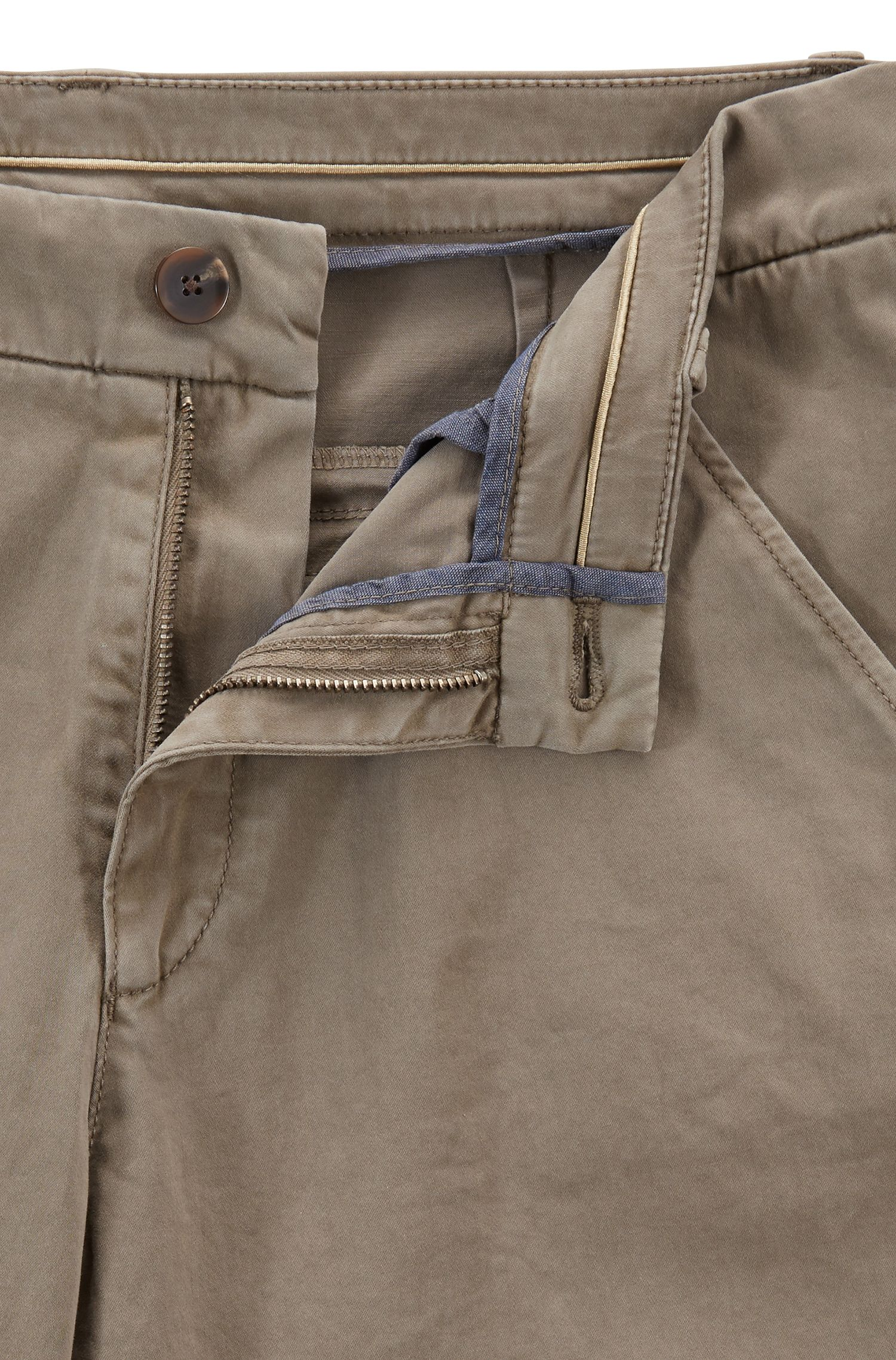 Regular-fit chinos in satin-touch stretch cotton, Open Grey