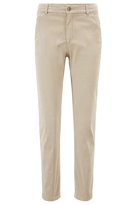 Regular-fit chino van satijnzachte stretchkatoen, Beige