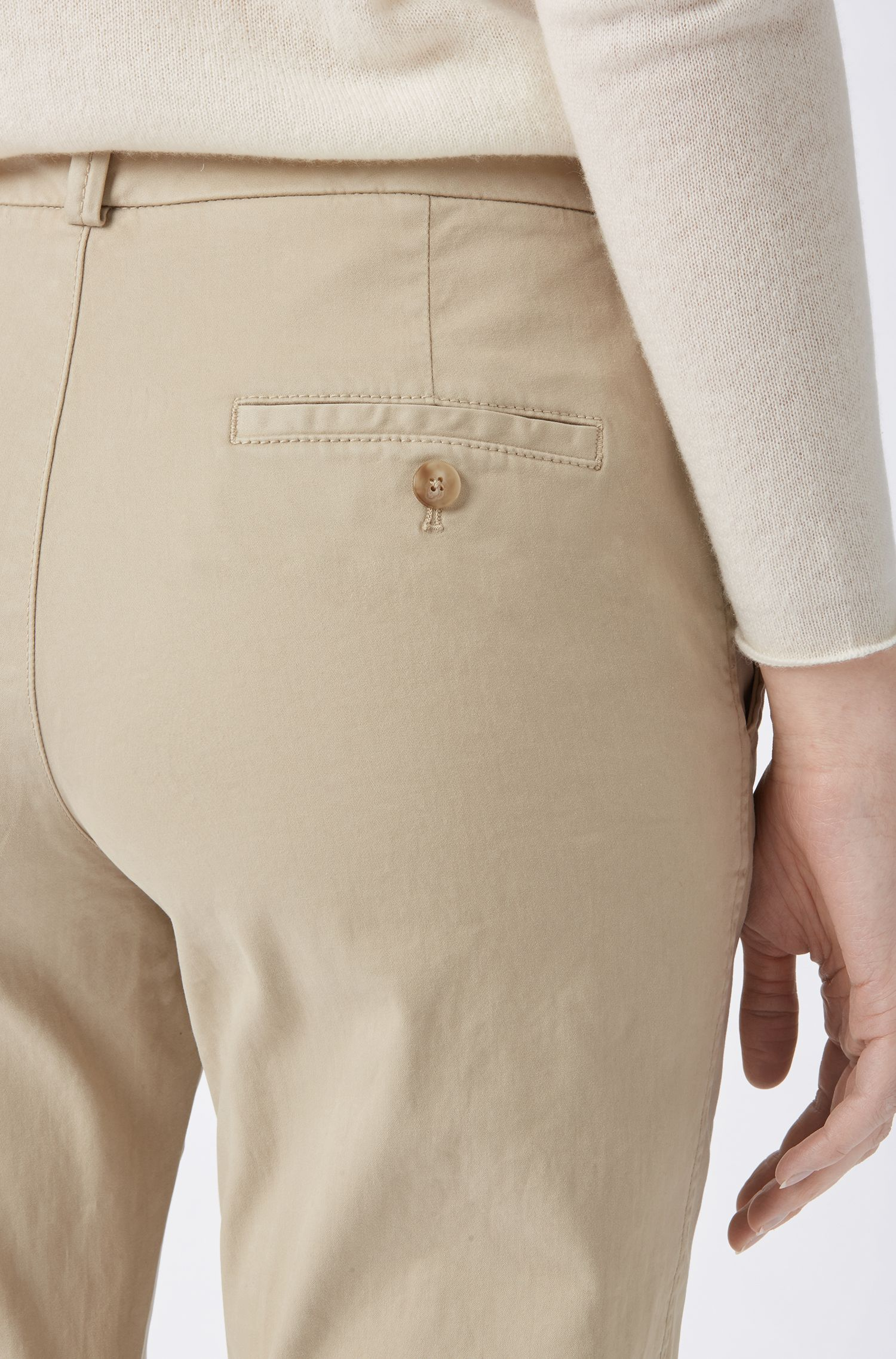 Regular-fit chinos in satin-touch stretch cotton, Beige