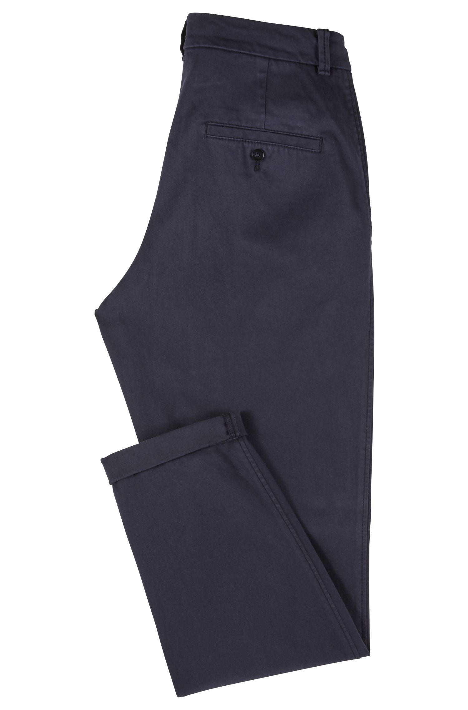 Regular-Fit Chino aus Stretch-Baumwolle mit Satin-Finish, Dunkelblau