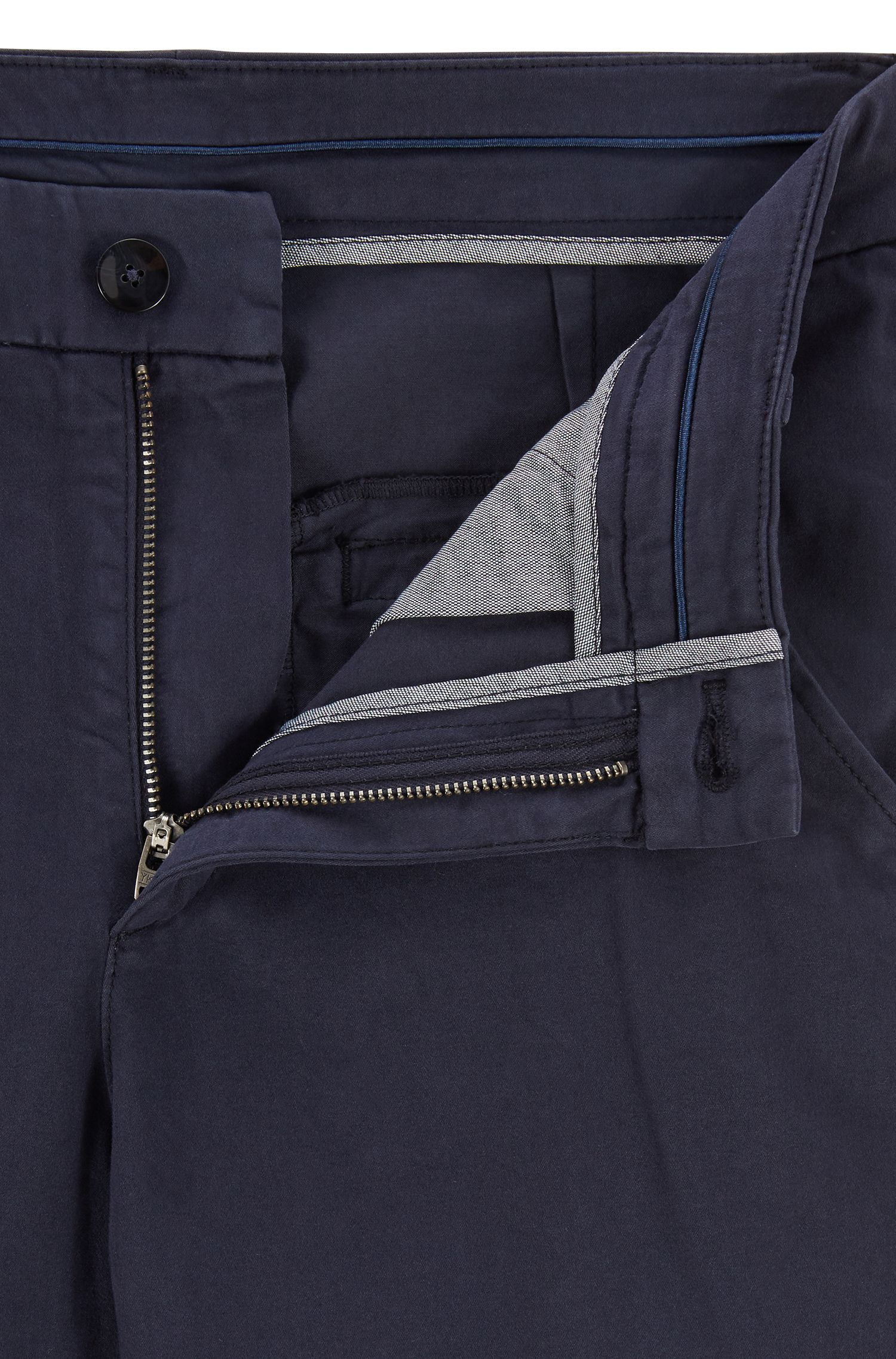 Chino Regular Fit en coton stretch au toucher satiné, Turquoise