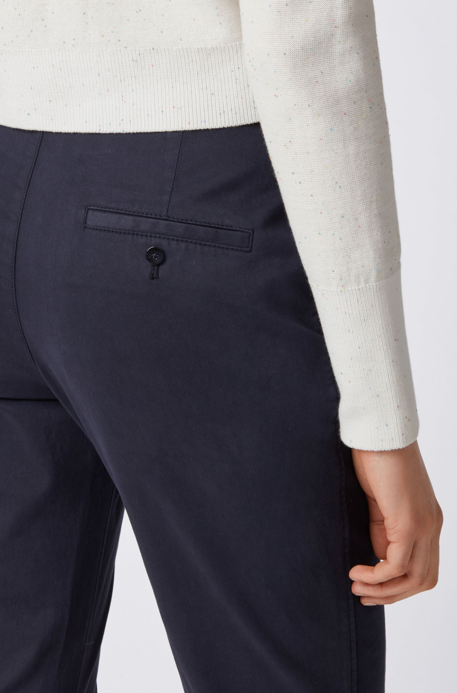Regular-fit chinos in satin-touch stretch cotton, Turquoise