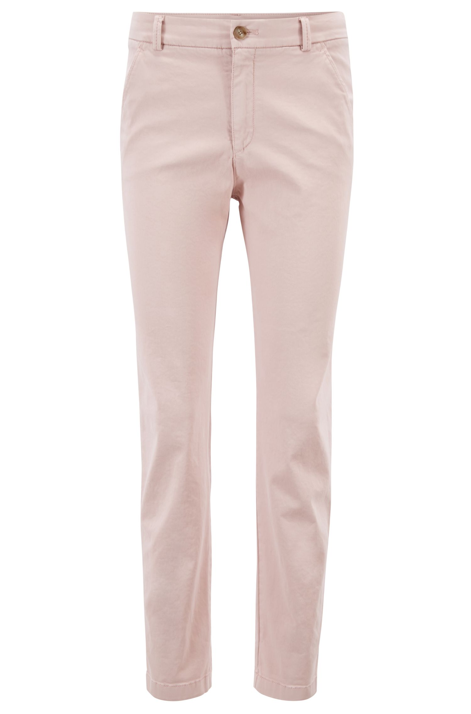 Regular-fit chinos in satin-touch stretch cotton, Light Red