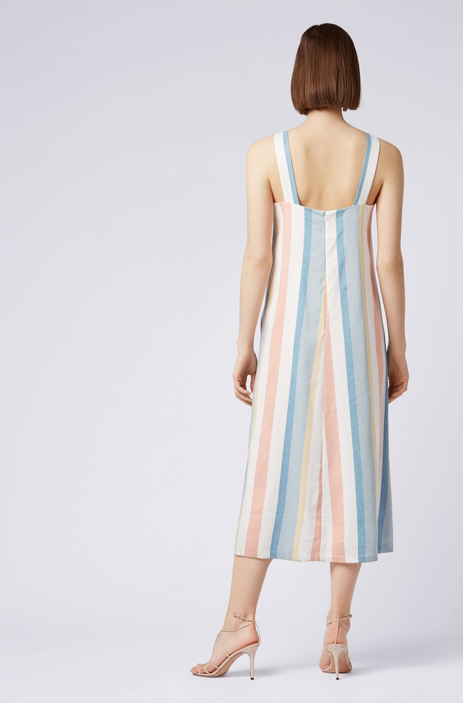 Relaxed-fit dress with multicoloured stripe, Patterned