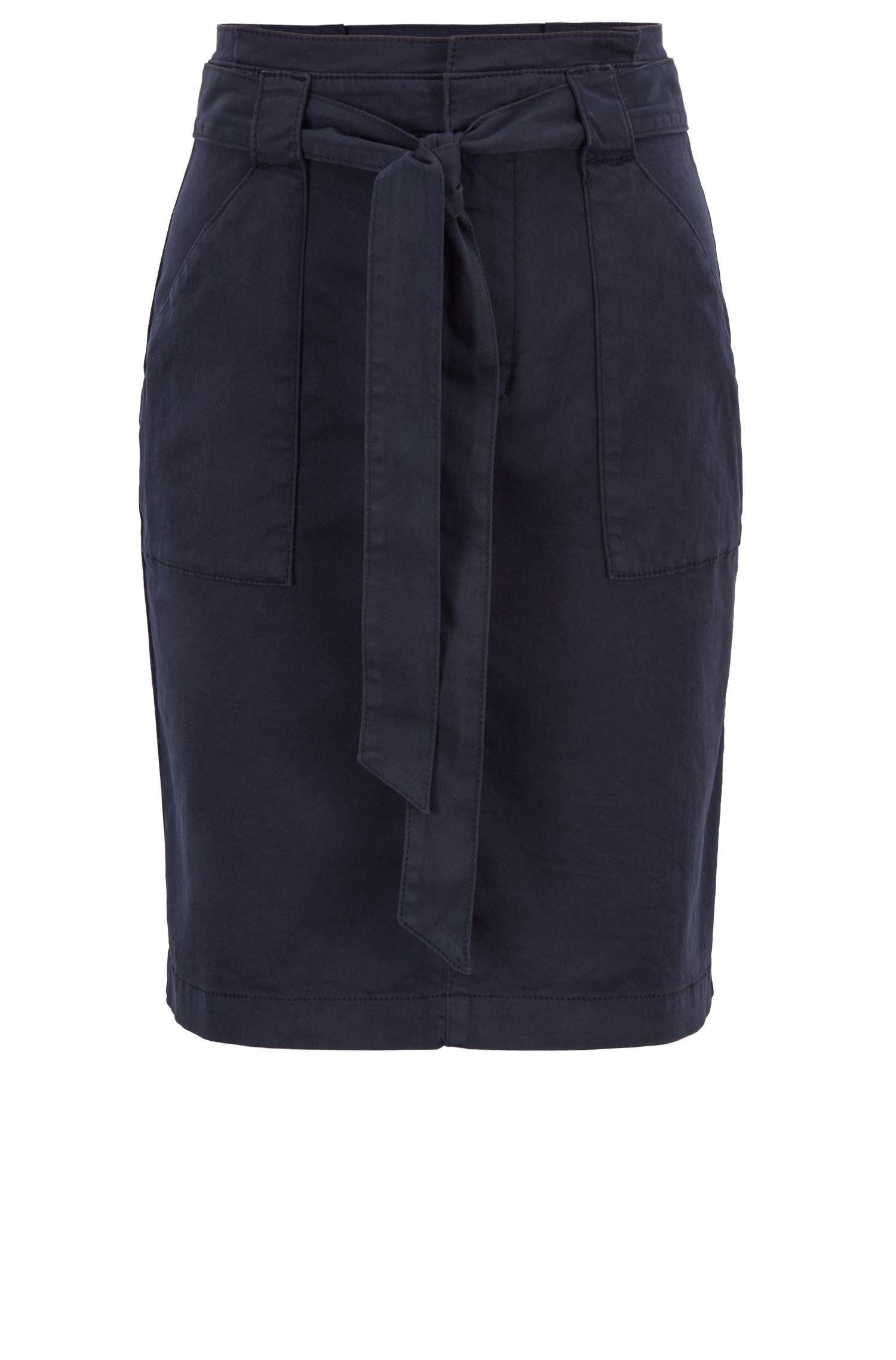 Jupe taille haute Regular Fit en coton stretch, à l'esprit chino, Bleu foncé