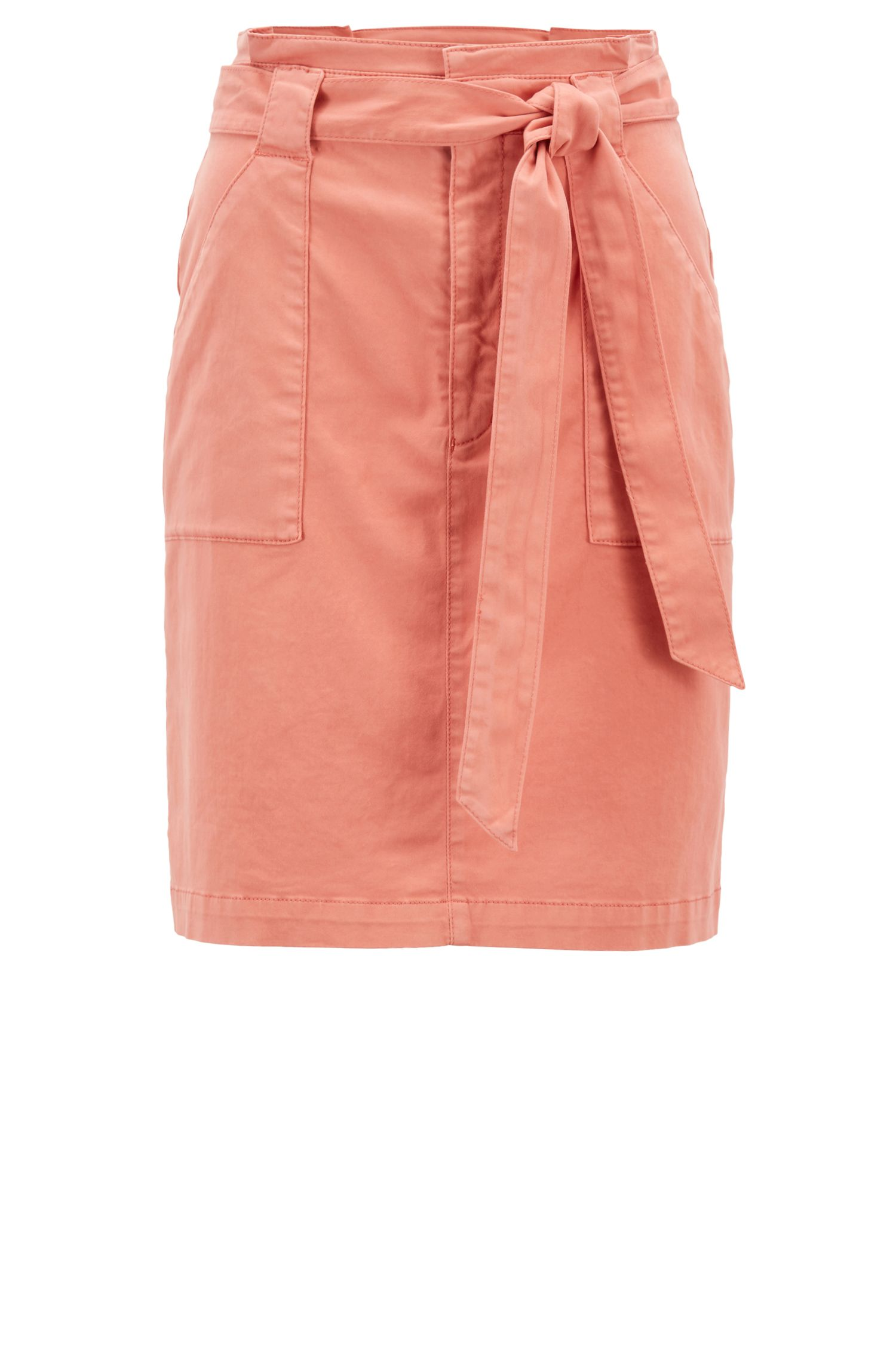 Regular-fit high-rise chino skirt in stretch cotton, Light Orange