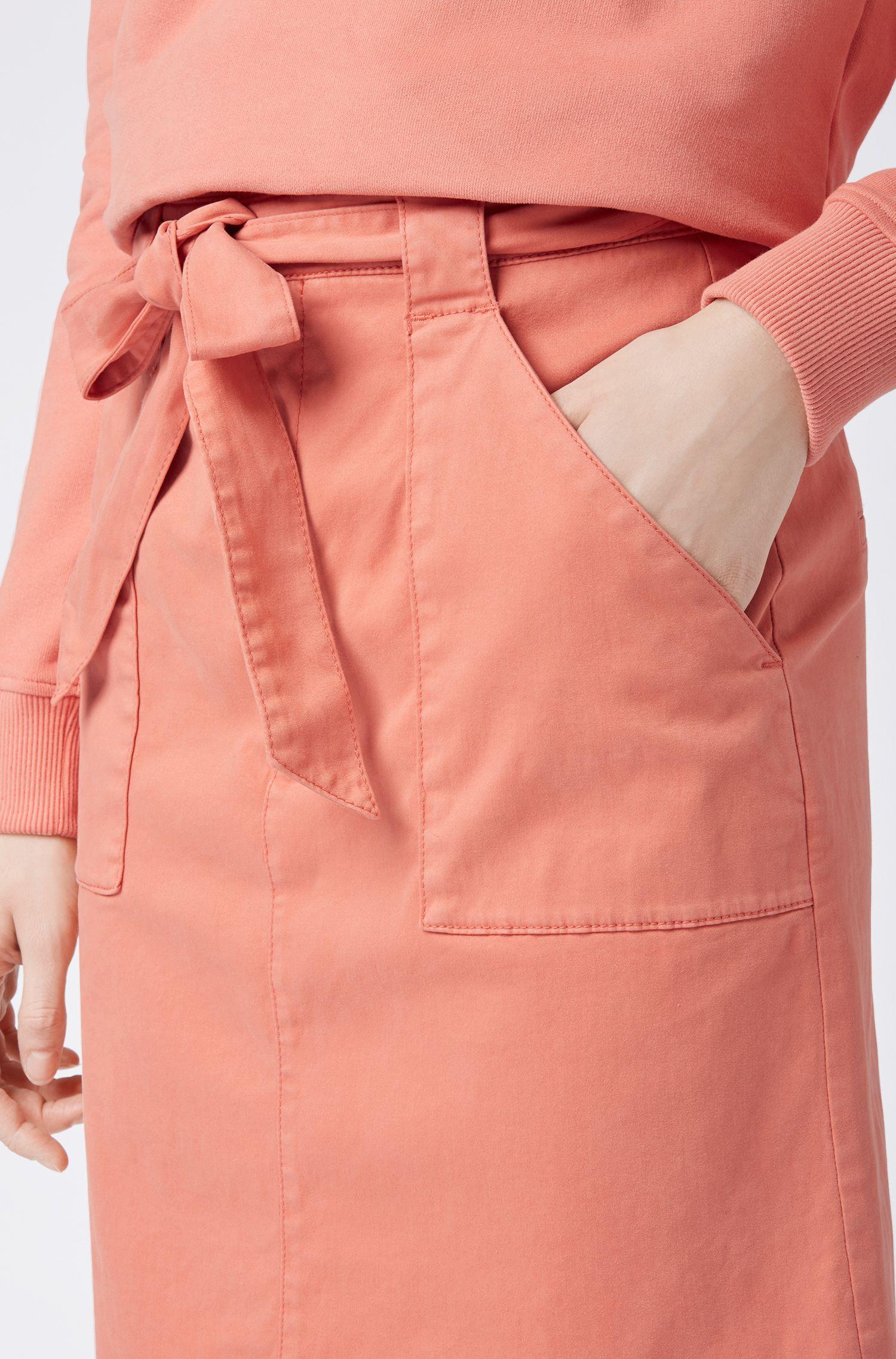 Regular-fit high-rise chino skirt in stretch cotton, Light Orange