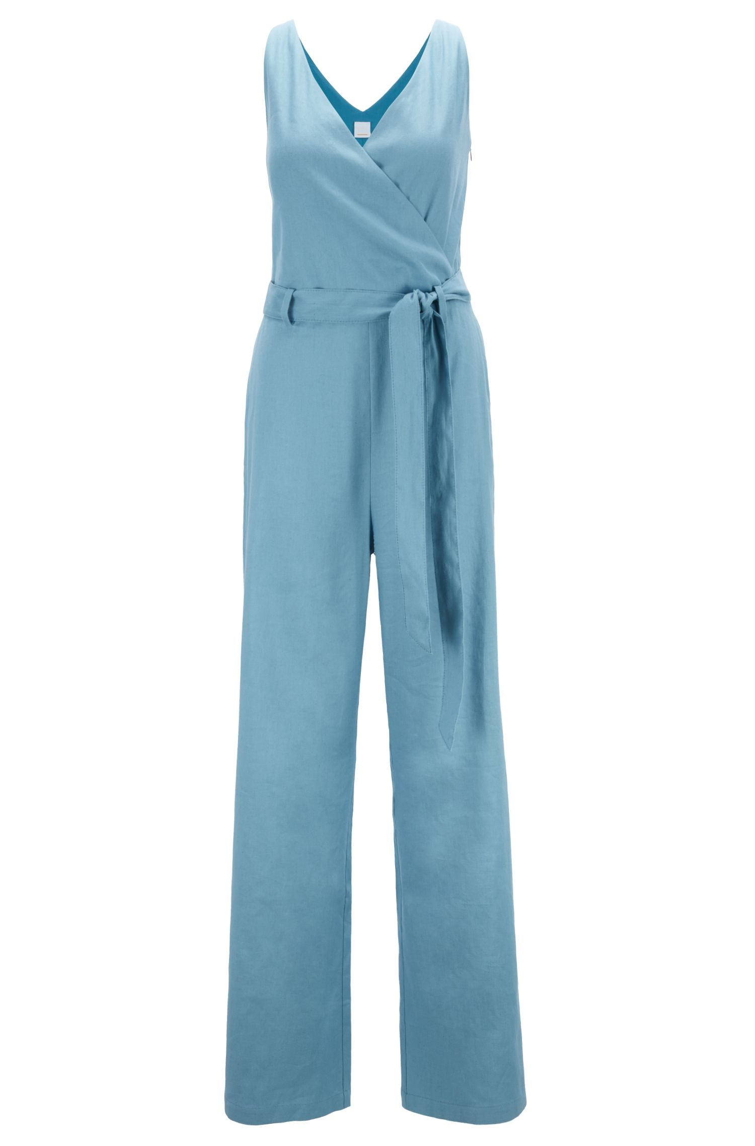 Wrap-front belted jumpsuit in a linen blend, Blue