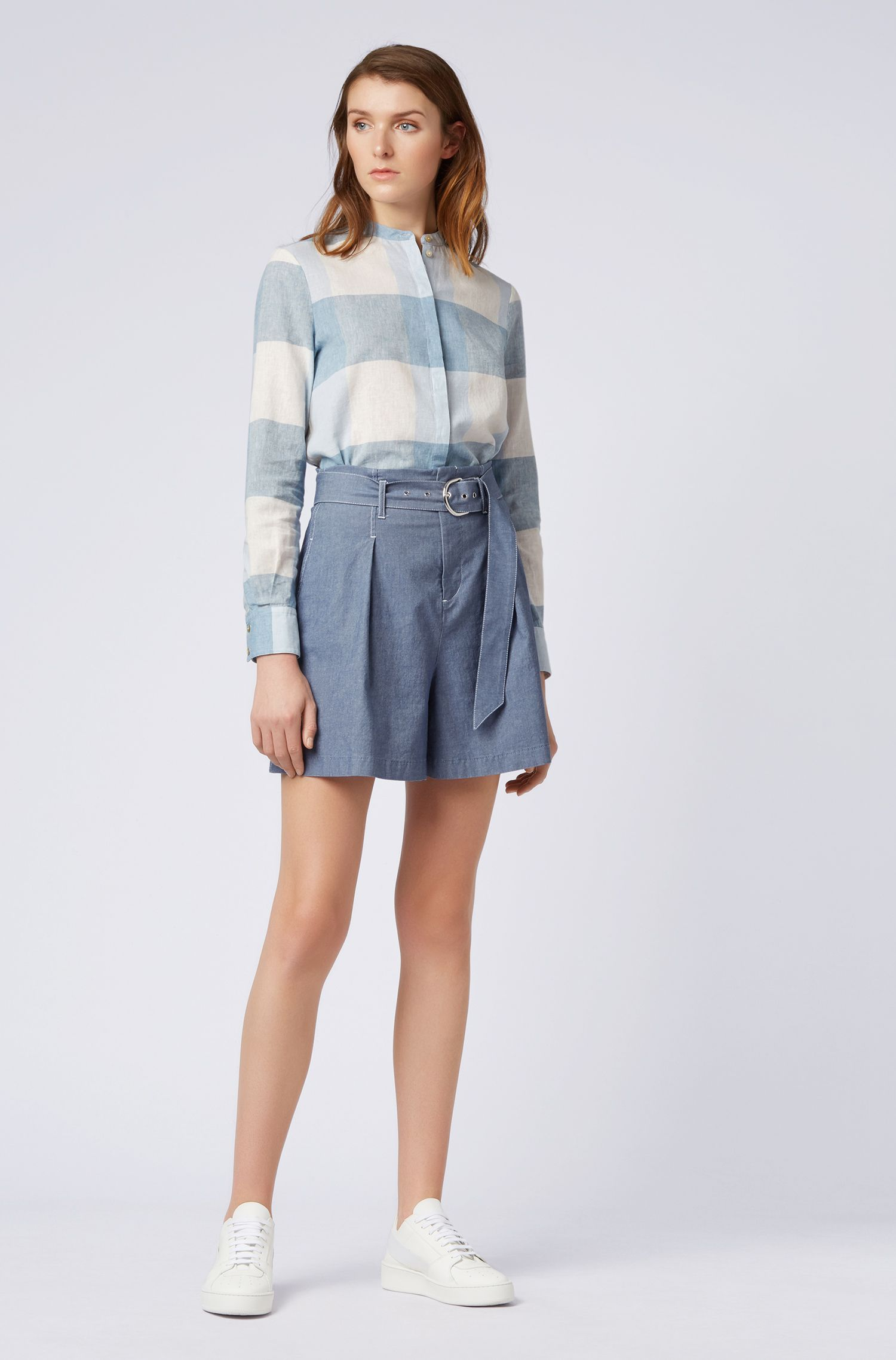 High-waisted denim-look shorts with buckle belt, Blue