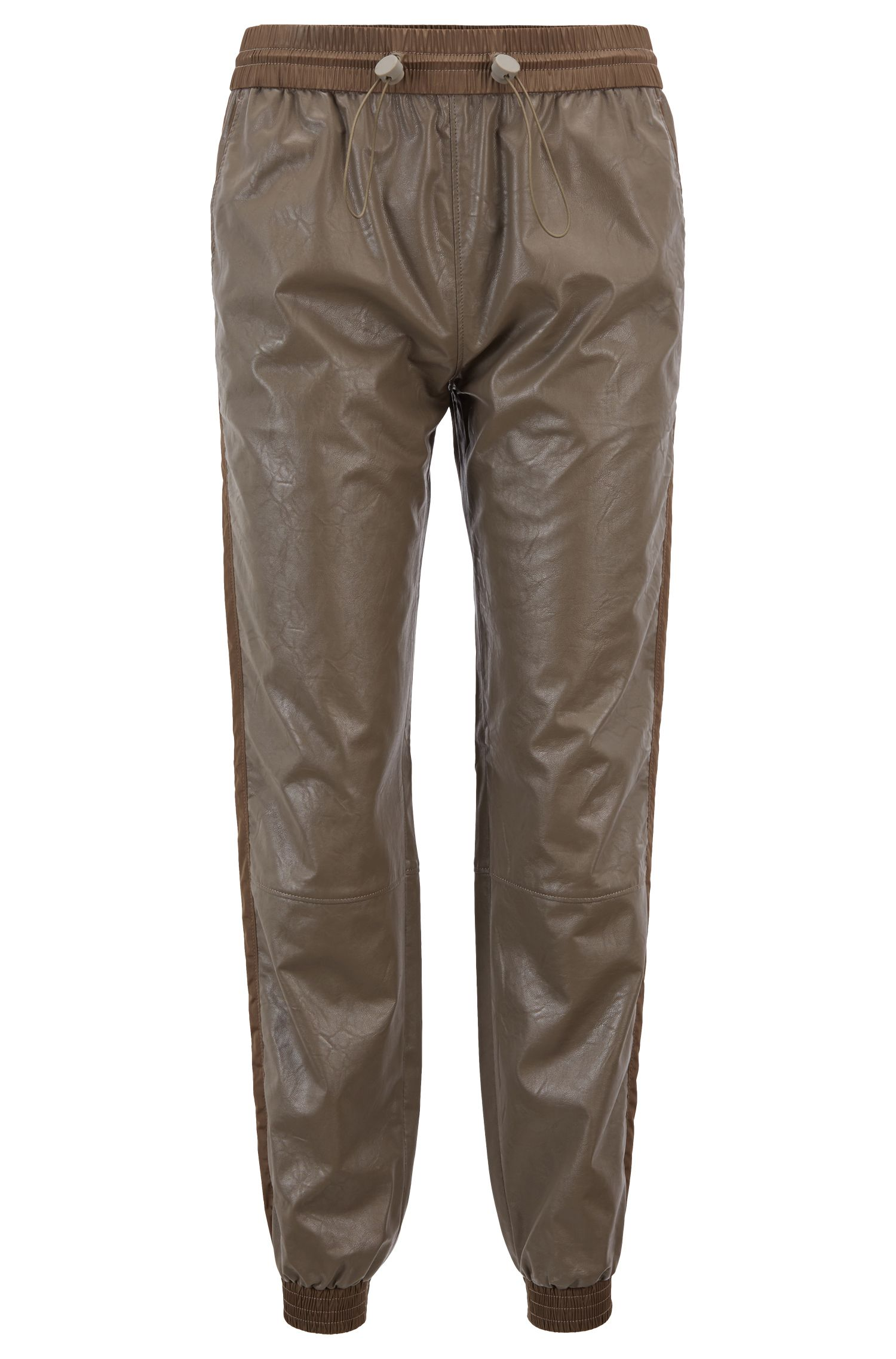 Regular-fit faux-leather jogging trousers with cuffed hems, Open Grey