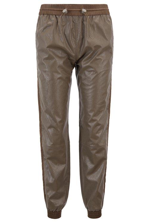 Hugo Boss - Pantalones de chándal regular fit de piel sintética con puños en los bajos - 1