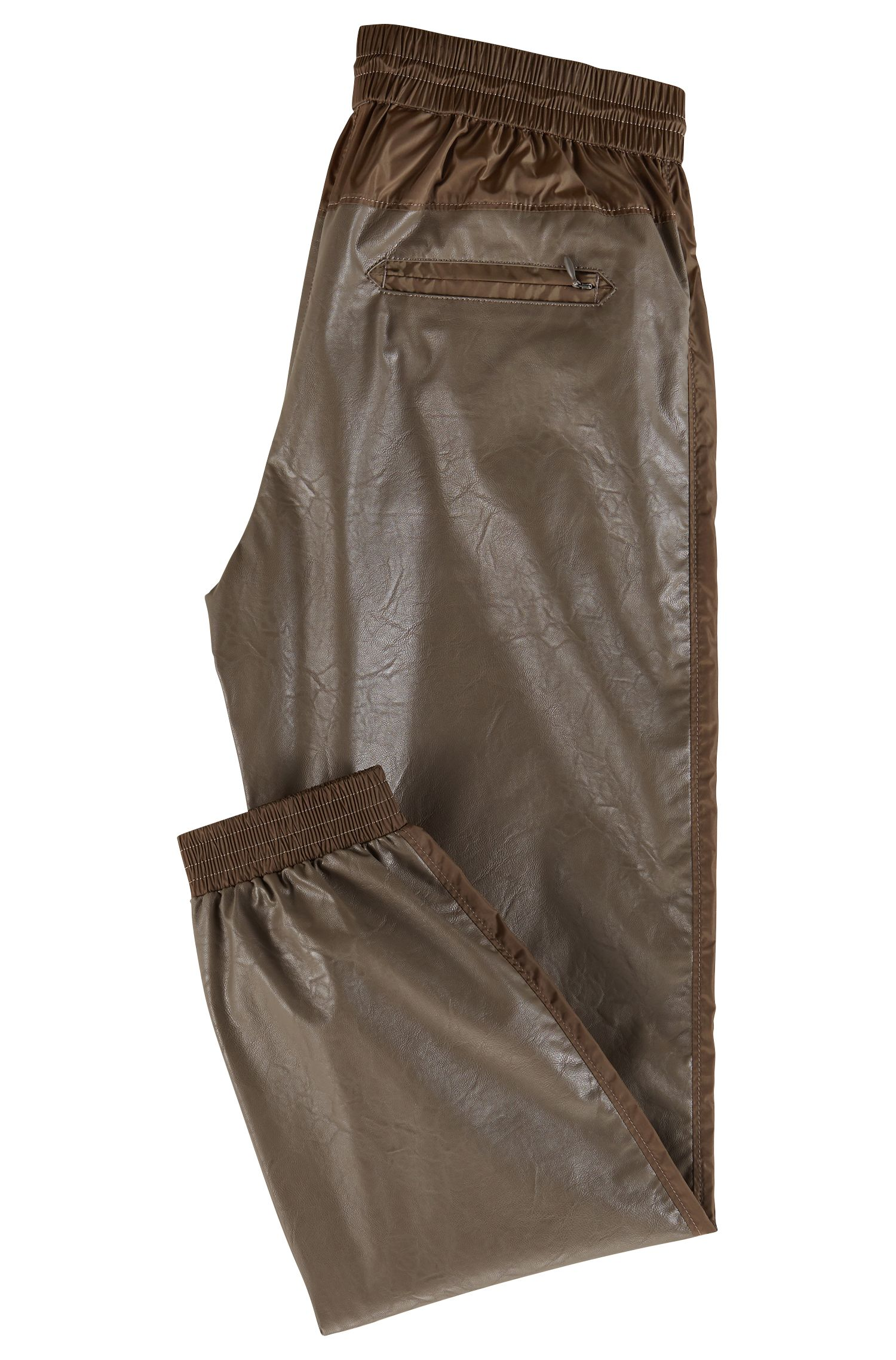 Hugo Boss - Regular-fit faux-leather jogging trousers with cuffed hems - 3