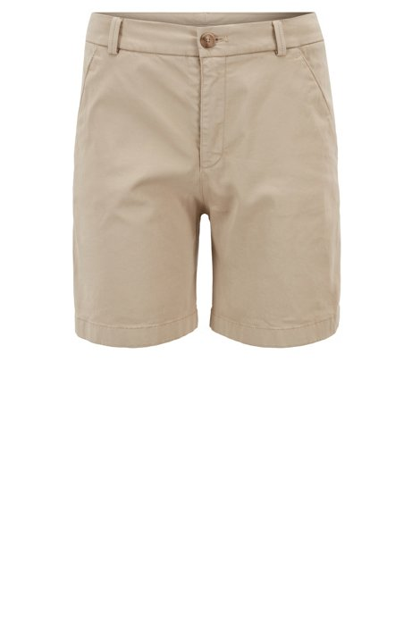 Shorts regular fit en algodón elástico con un tacto satinado, Beige